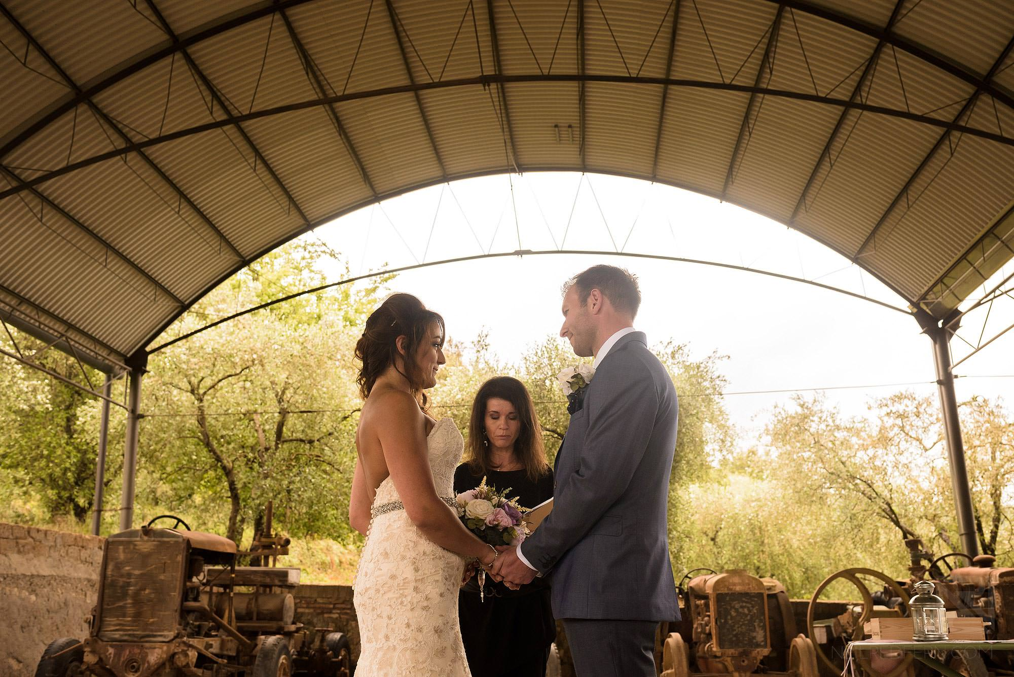 wedding ceremony at Montestigliano