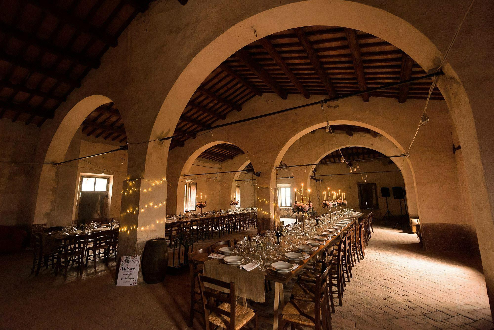 Montestigliano set up for wedding breakfast