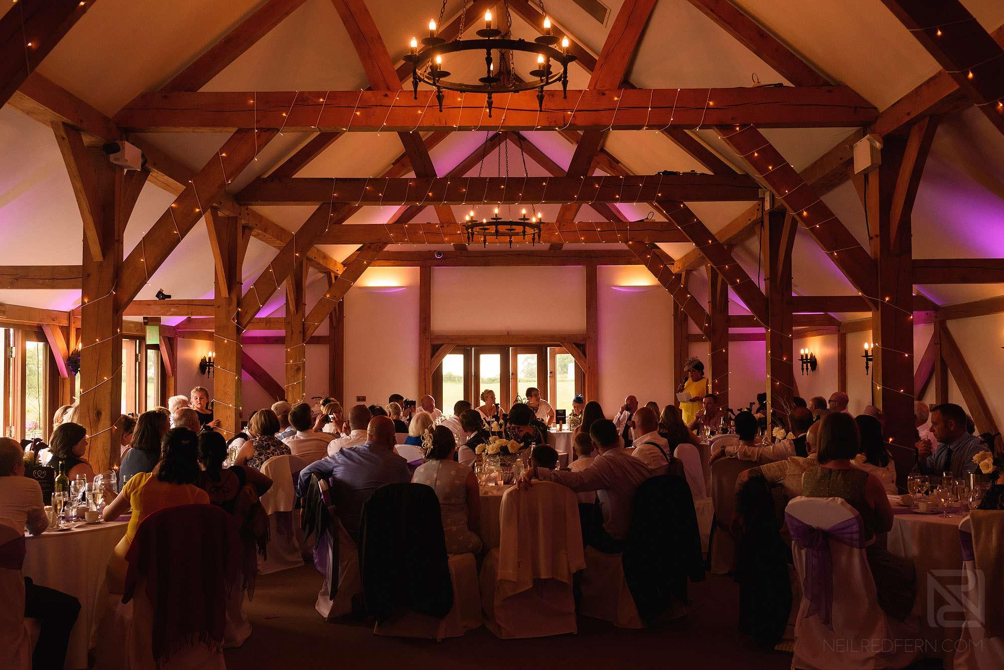 photograph of wedding speeches at Sandhole Oak Barn
