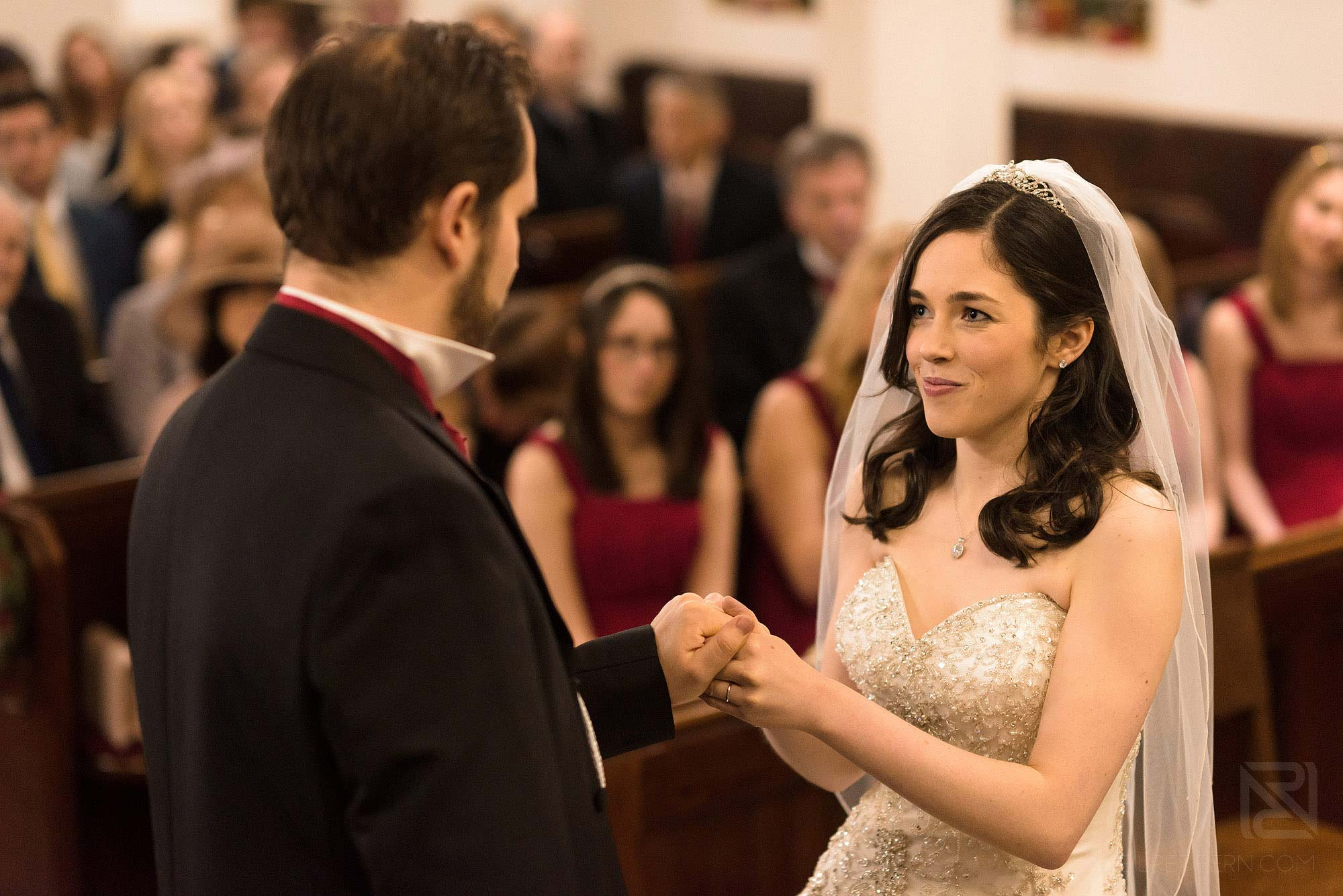 bride and groom during wedding ceremony at St James Church in Didsbury