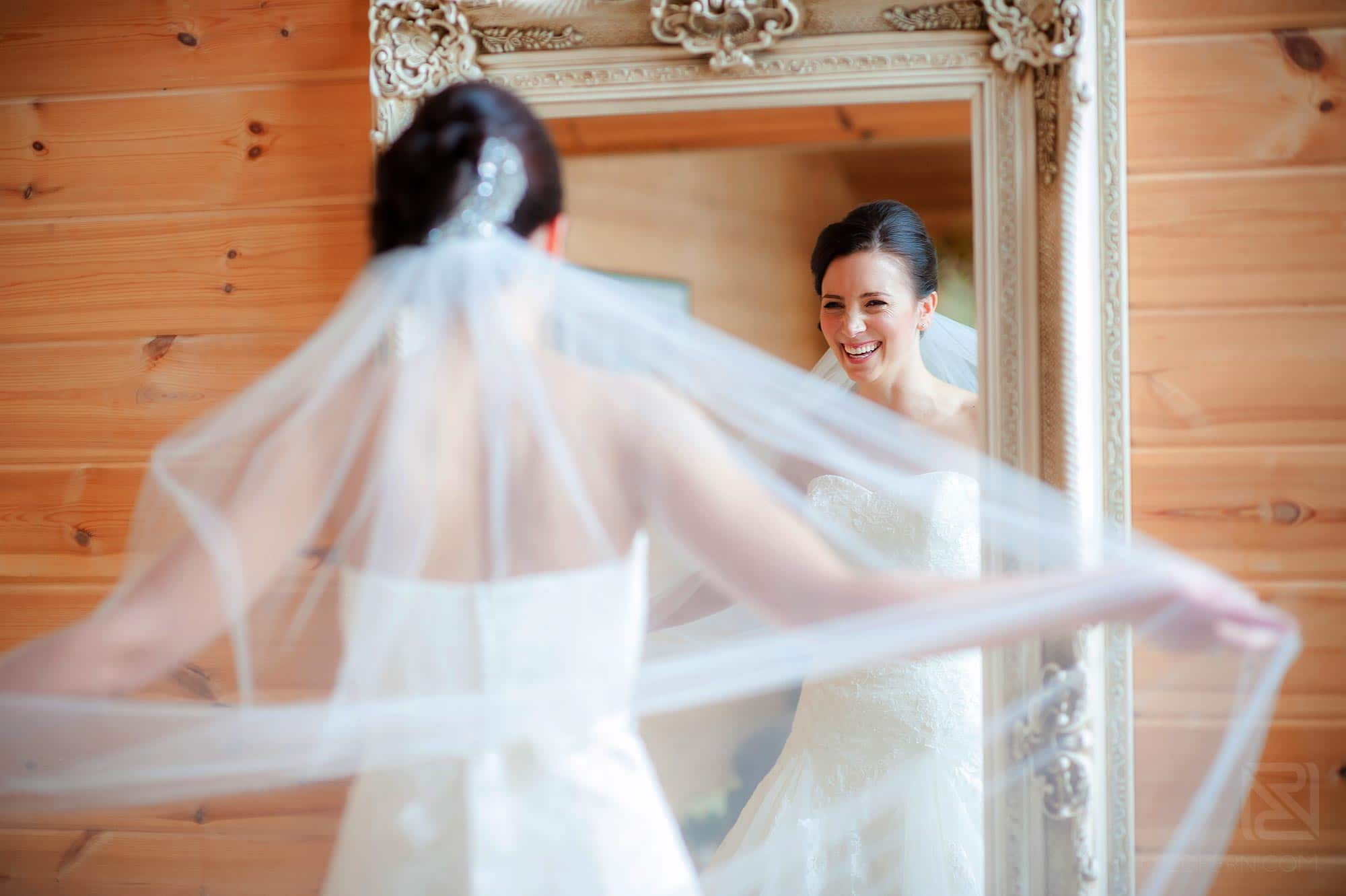 bride getting ready in Bridal Room at Styal Lodge