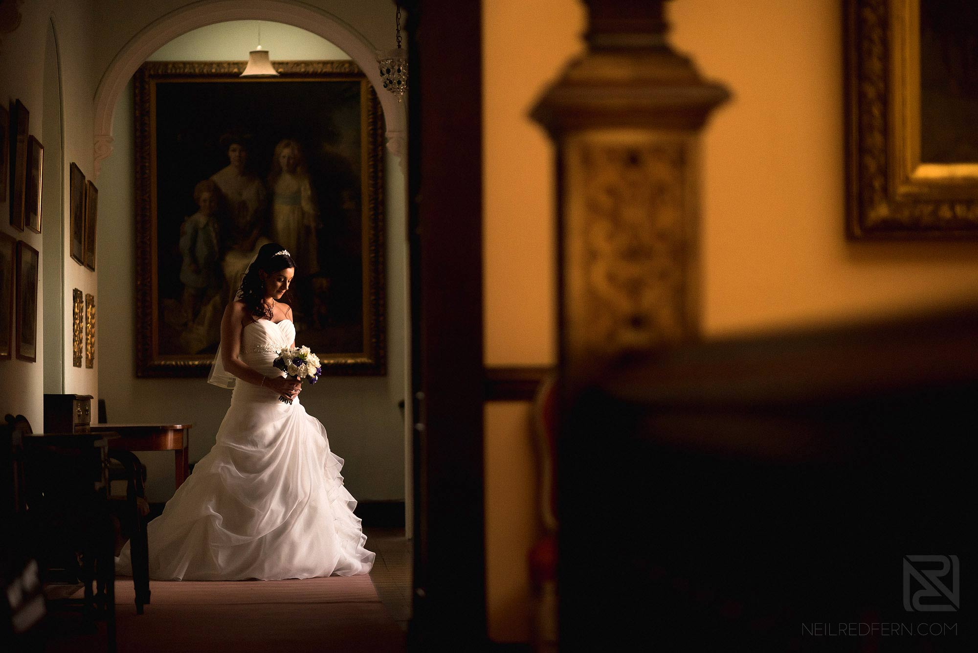 portrait of bride inside Arley Hall