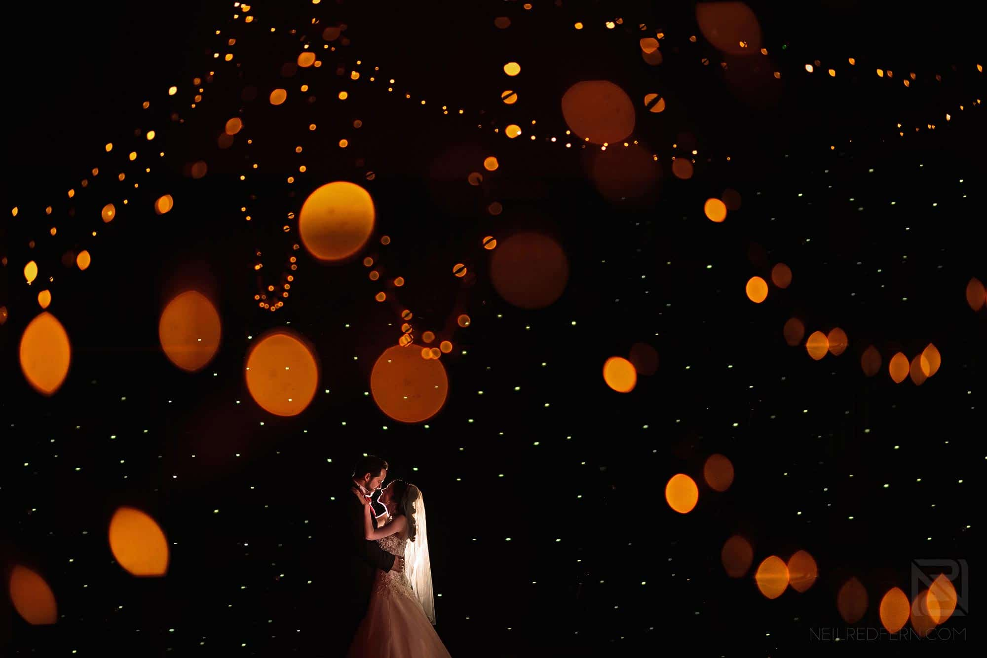 creative wedding photograph of bride and groom in The Bowdon Rooms