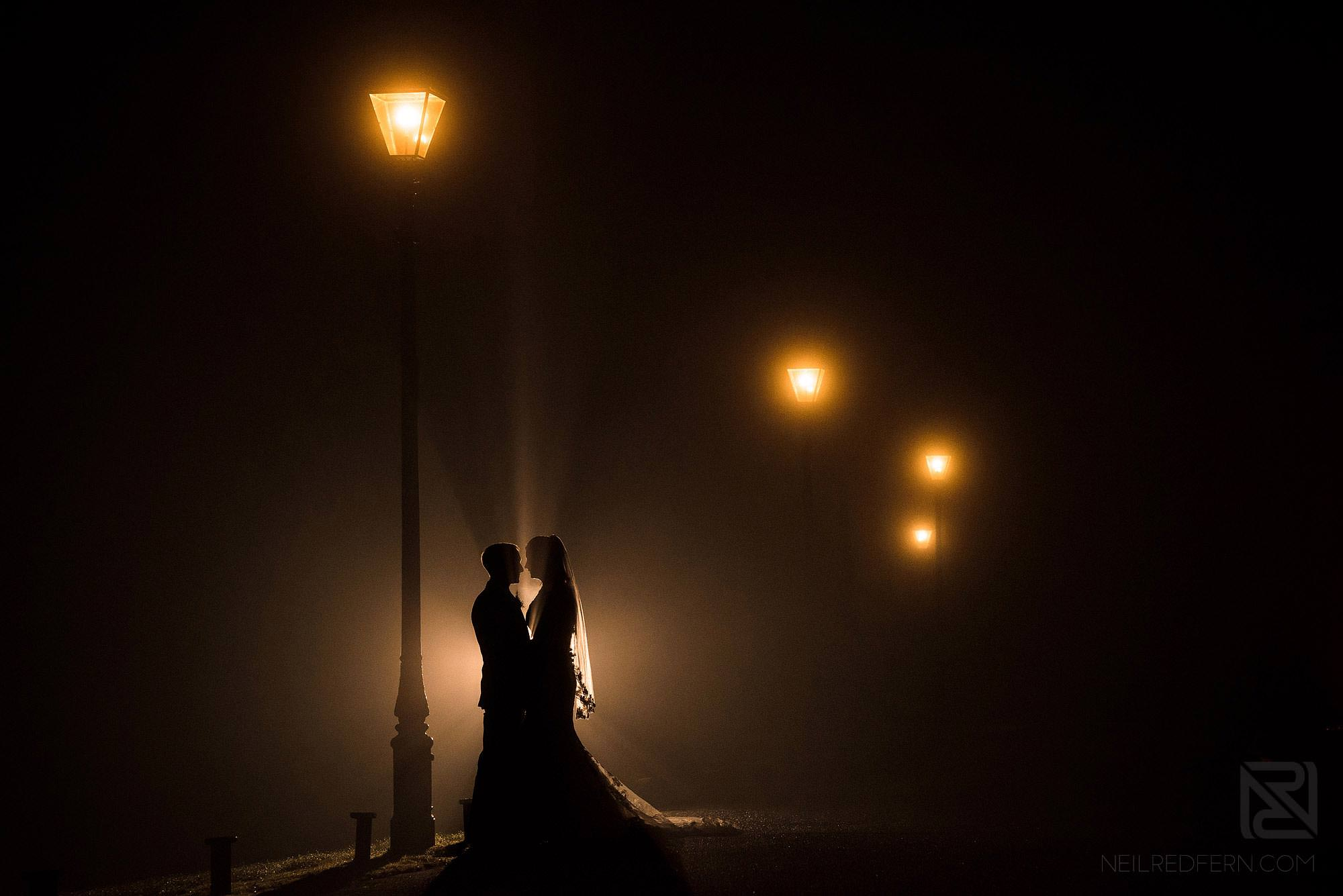 romantic winter wedding photograph of bride and groom at Broadoaks Country House