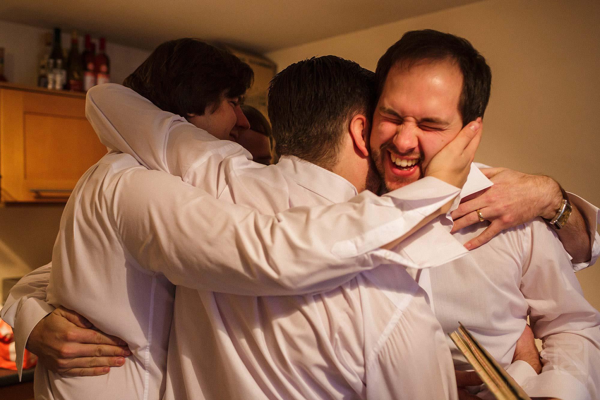 groomsmen having fun