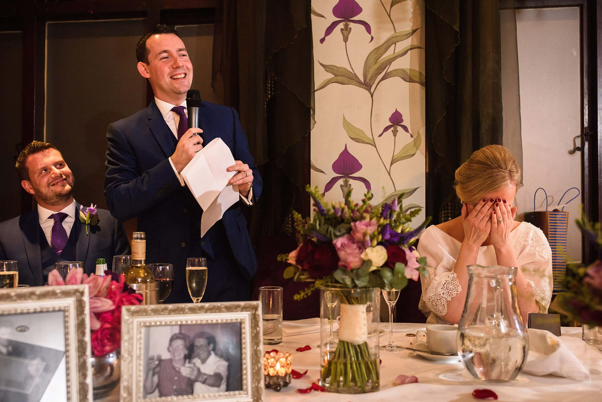 funny moment during groom's speech at the Belle Epoque wedding