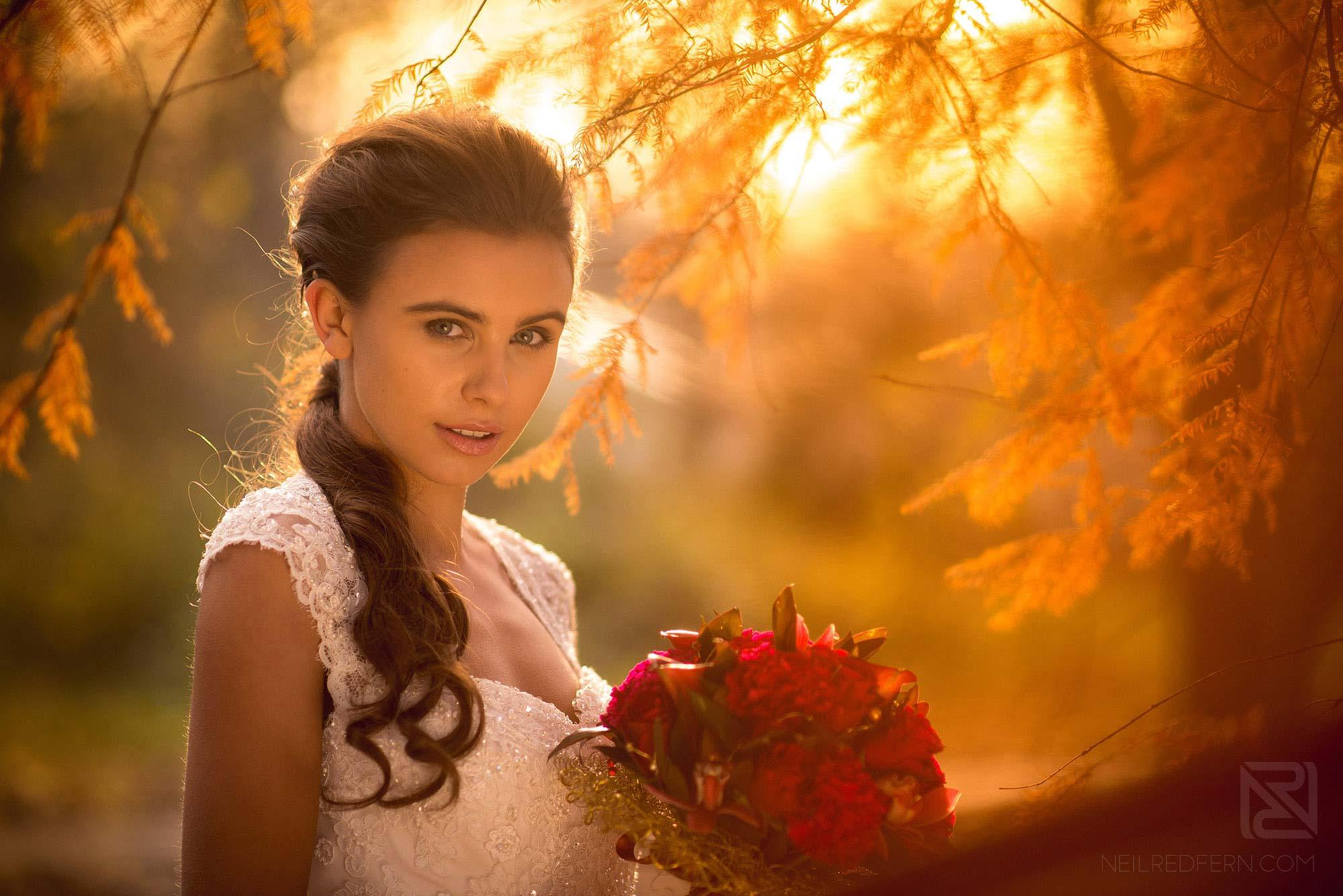 portrait photograph of bride in park near the Belle Epoque