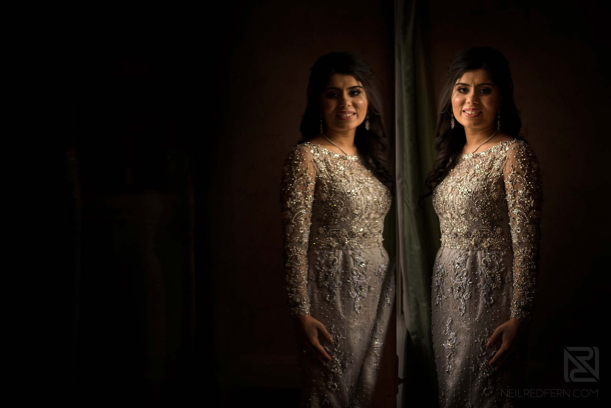 portrait of bride at Arley Hall winter wedding