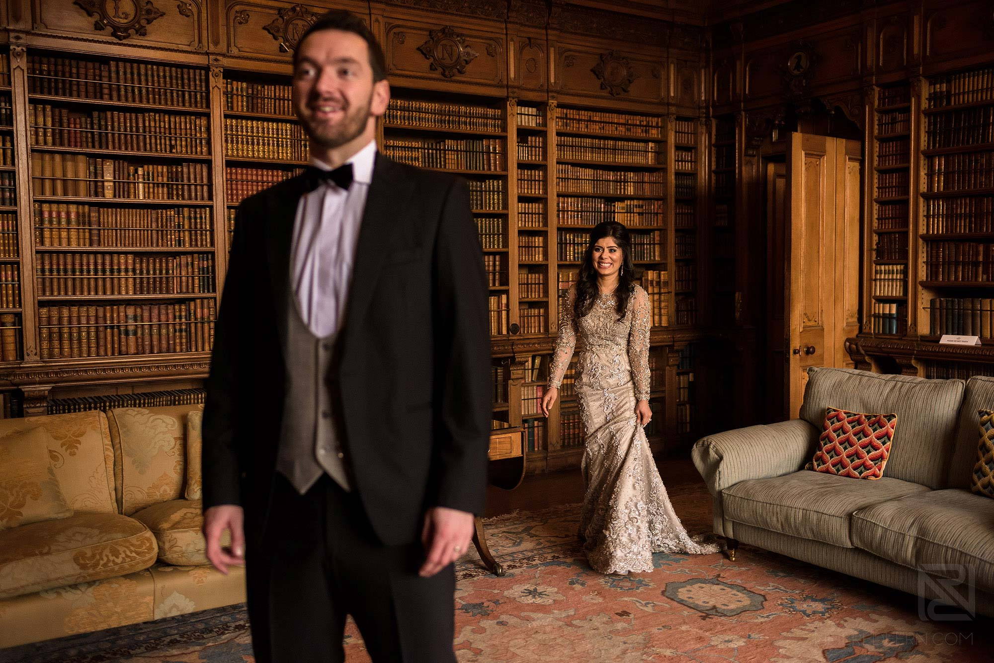 bride and groom first look in Arley Hall