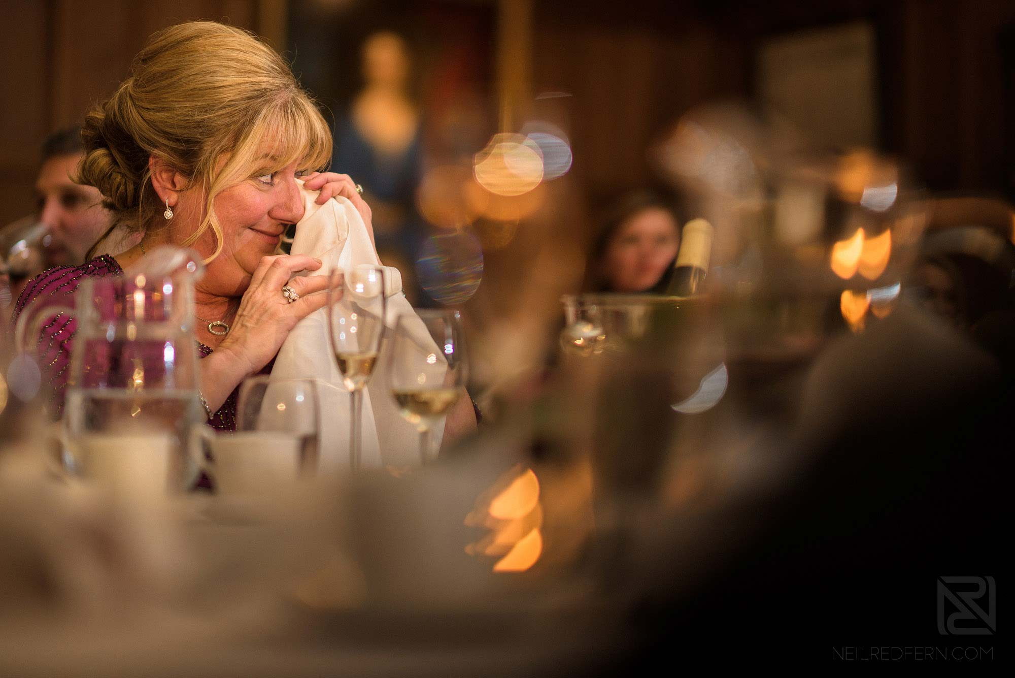 groom's mother getting emotional during wedding speeches