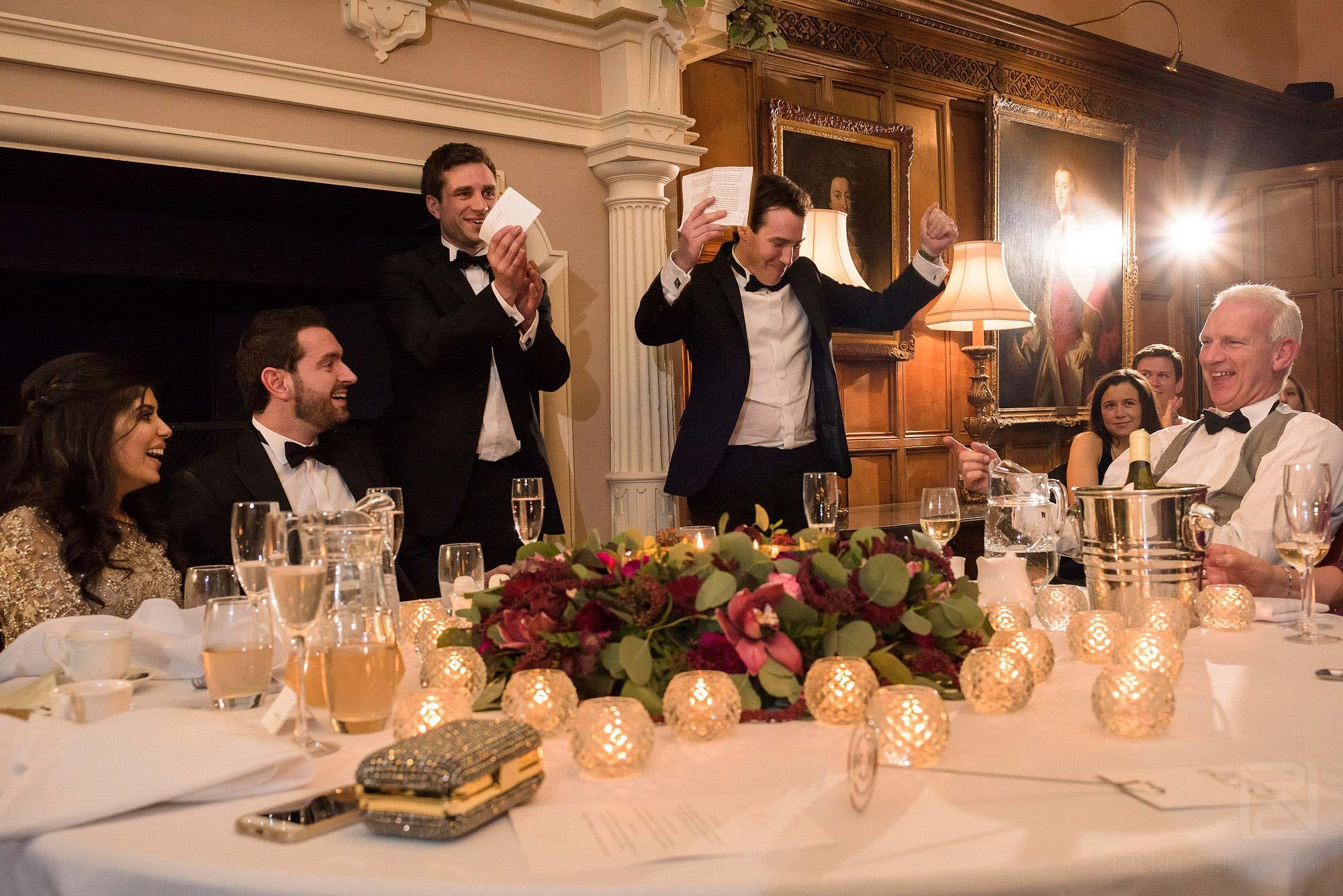 best men giving speech at Arley Hall wedding