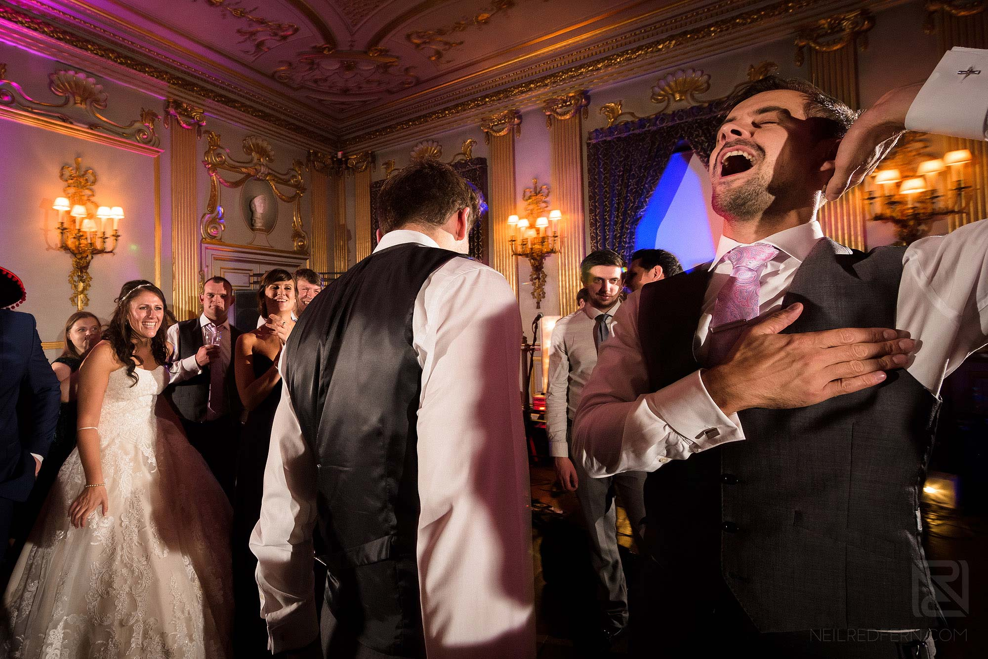 wedding guests dancing during Knowsley Hall evening wedding reception