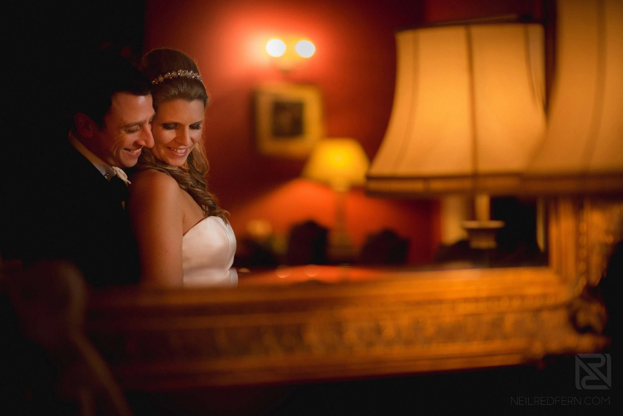 photograph of bride and groom at winter wedding at Colshaw Hall