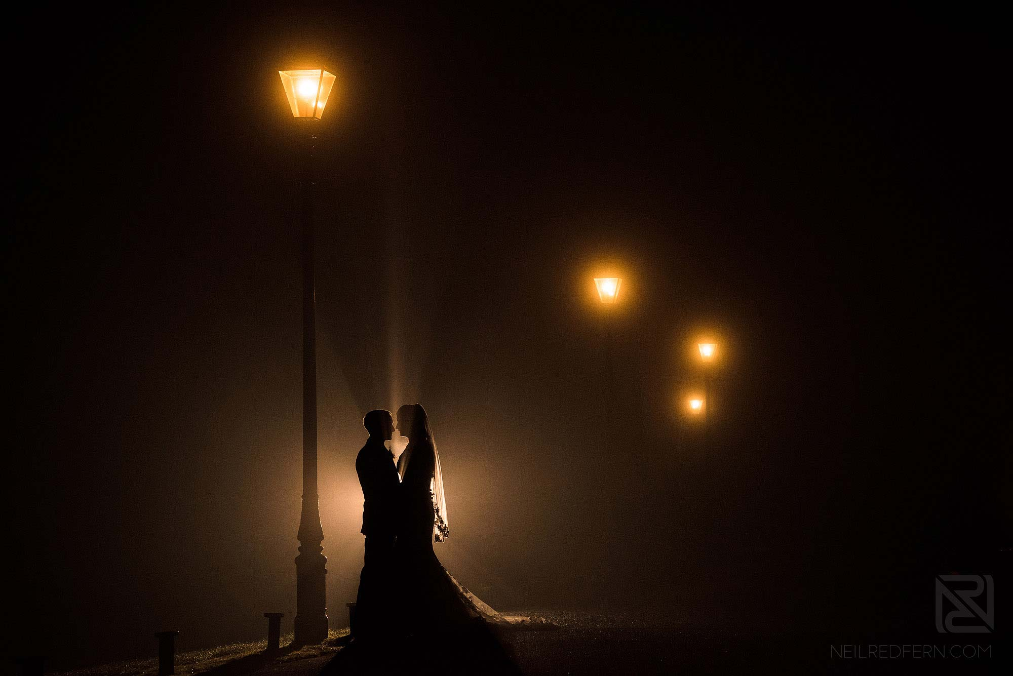 romantic photograph of bride and groom at winter wedding