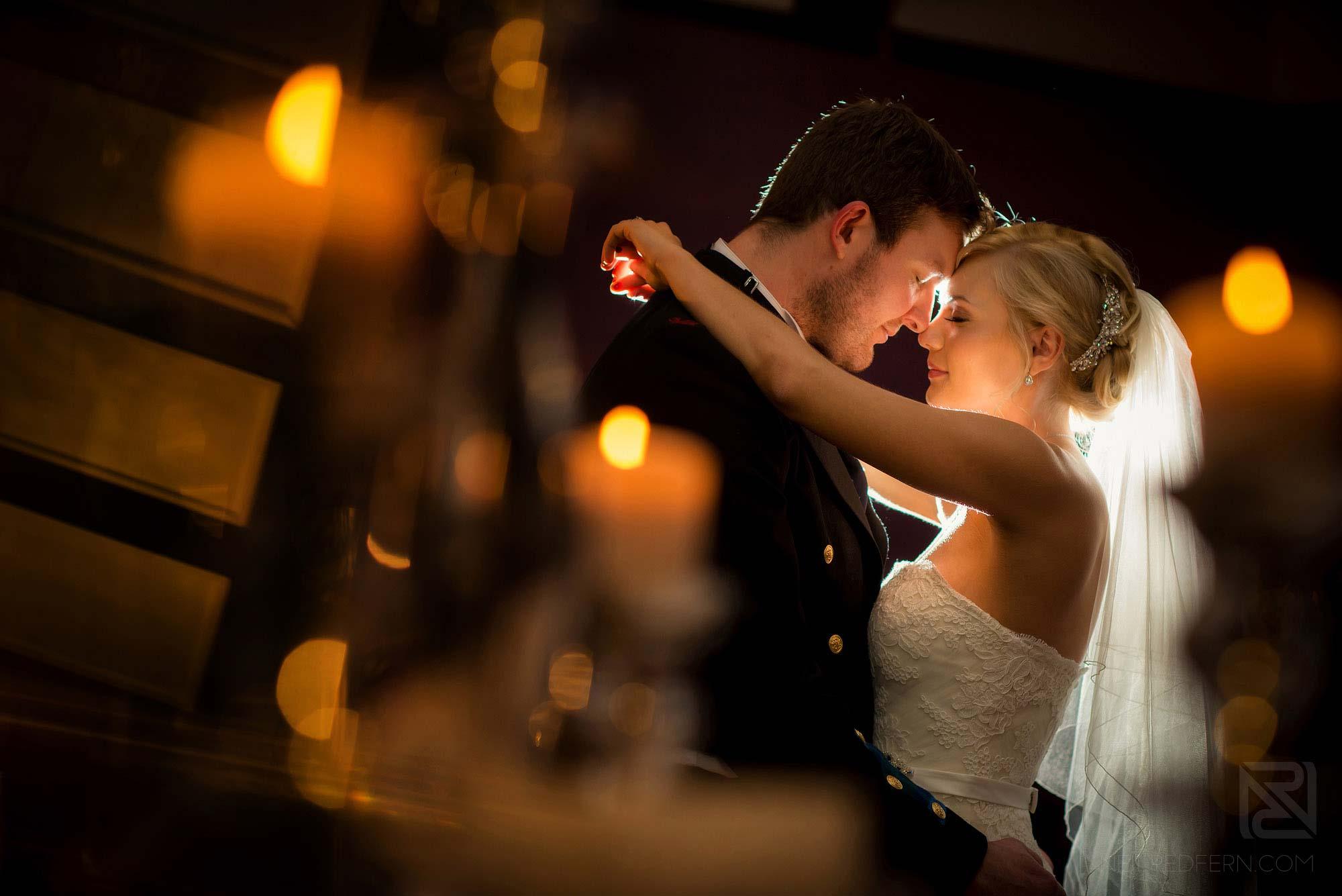 romantic photograph of newlyweds at winter wedding