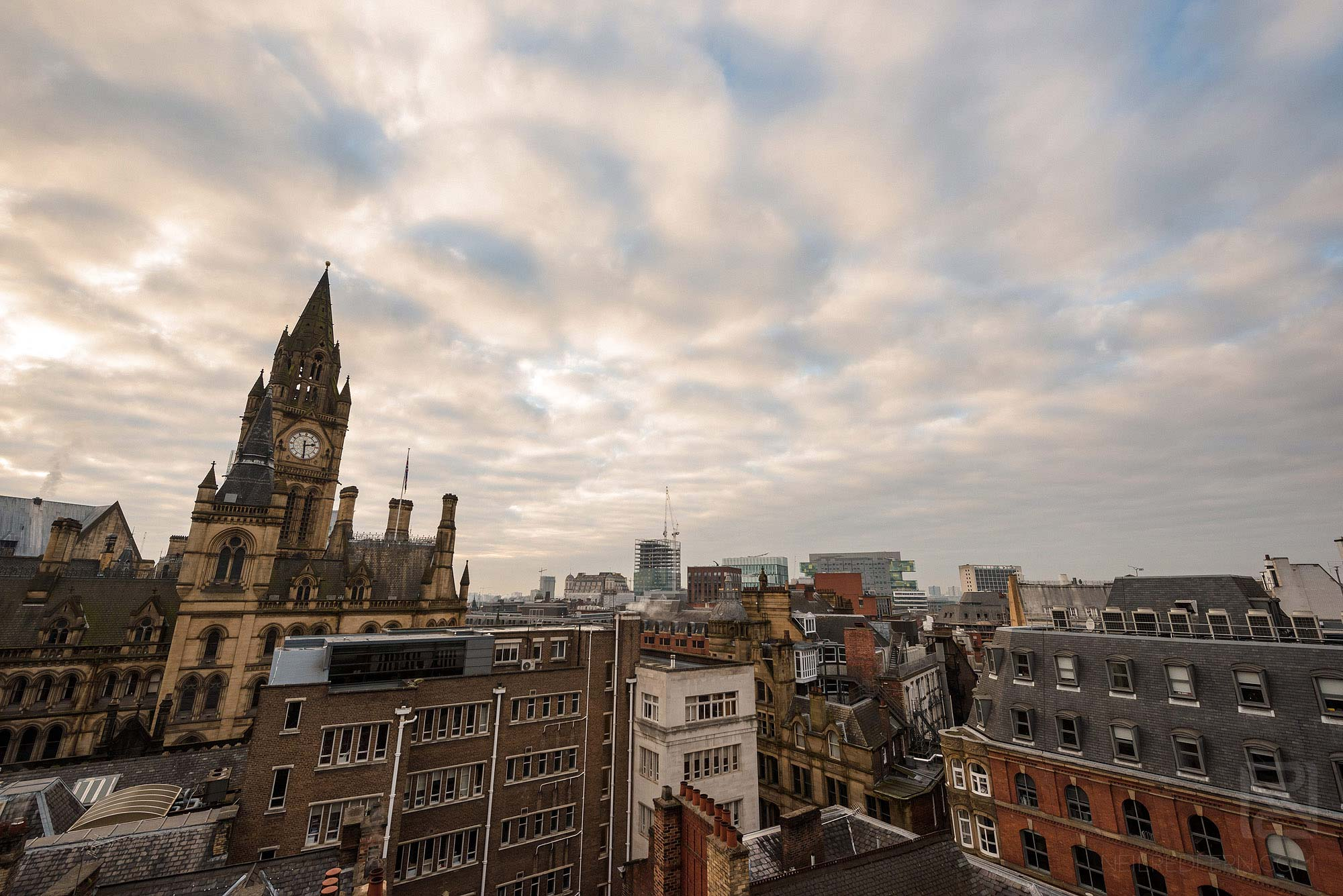 wide angle landscape photograph of Manchester Town Hall