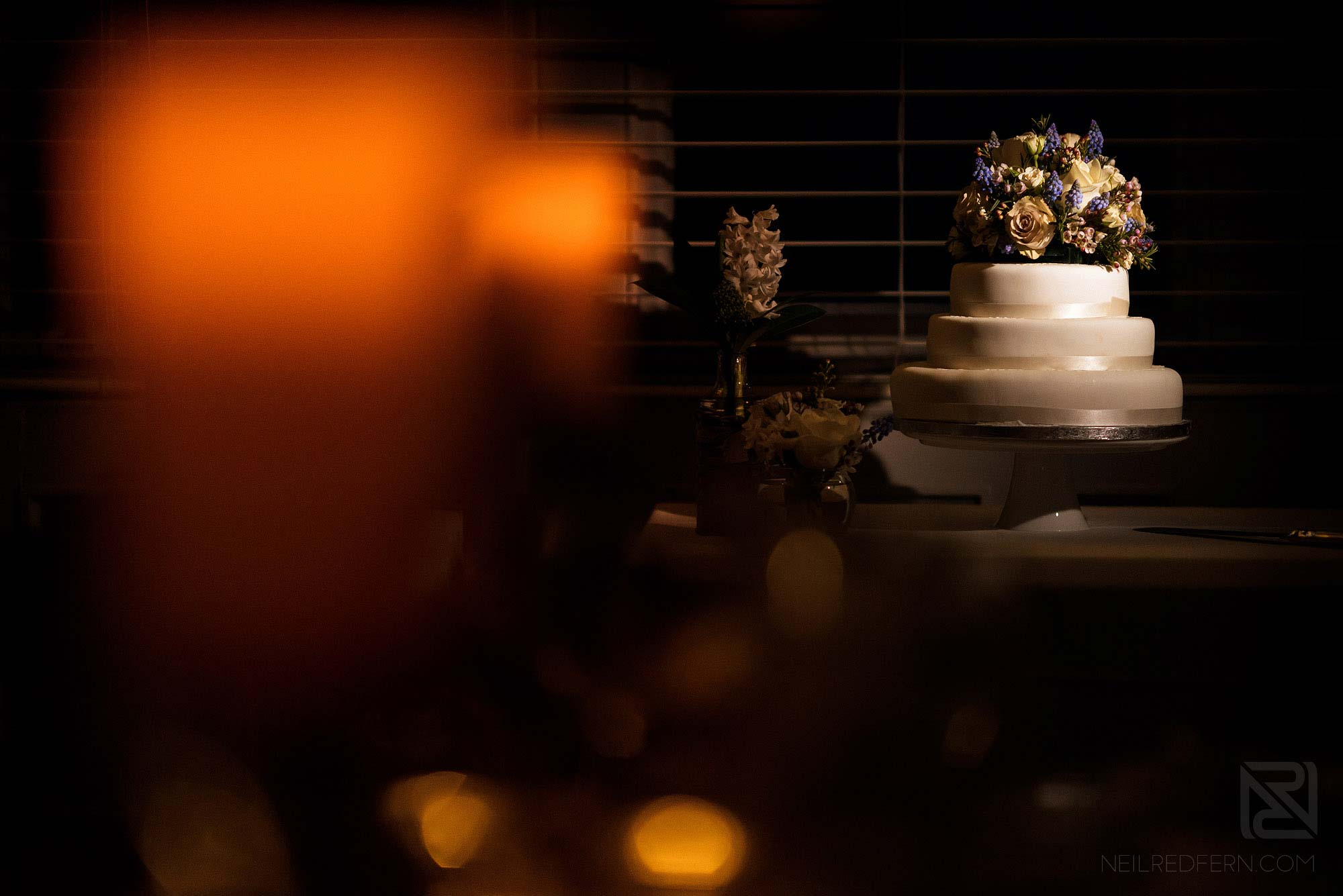 photograph of wedding cake at Lake District winter wedding