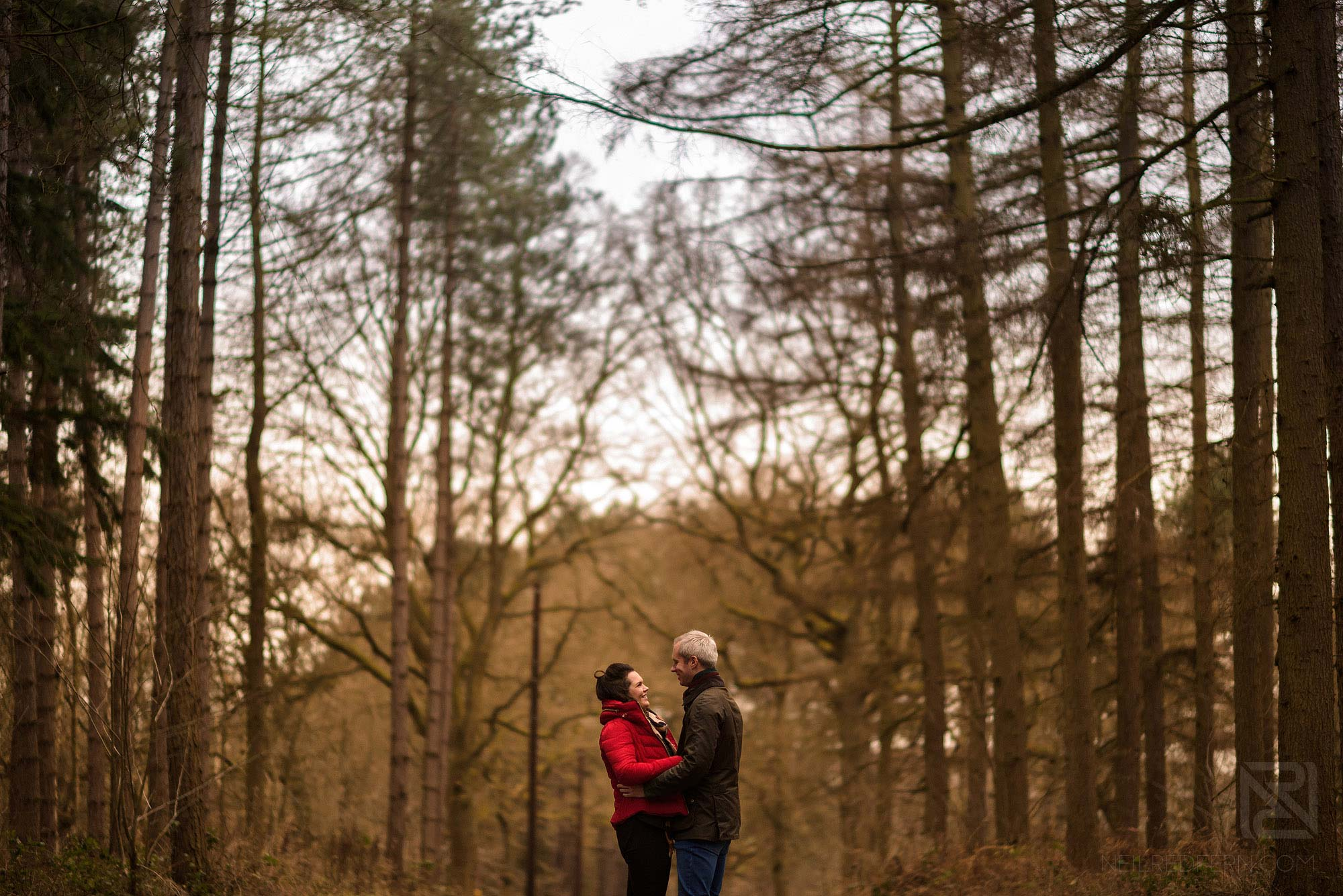 romantic photograph of couple in woodland