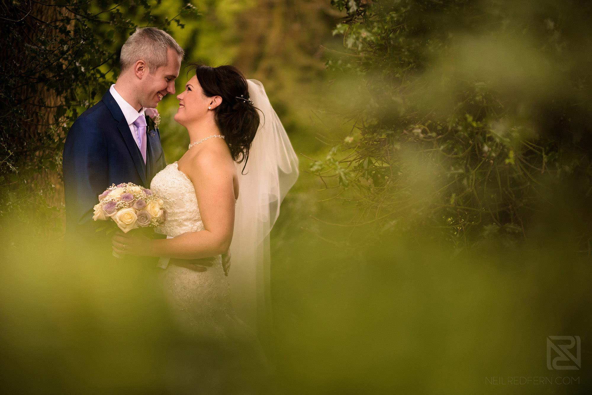 romantic portrait photograph of bride and groom at Rowton Hall