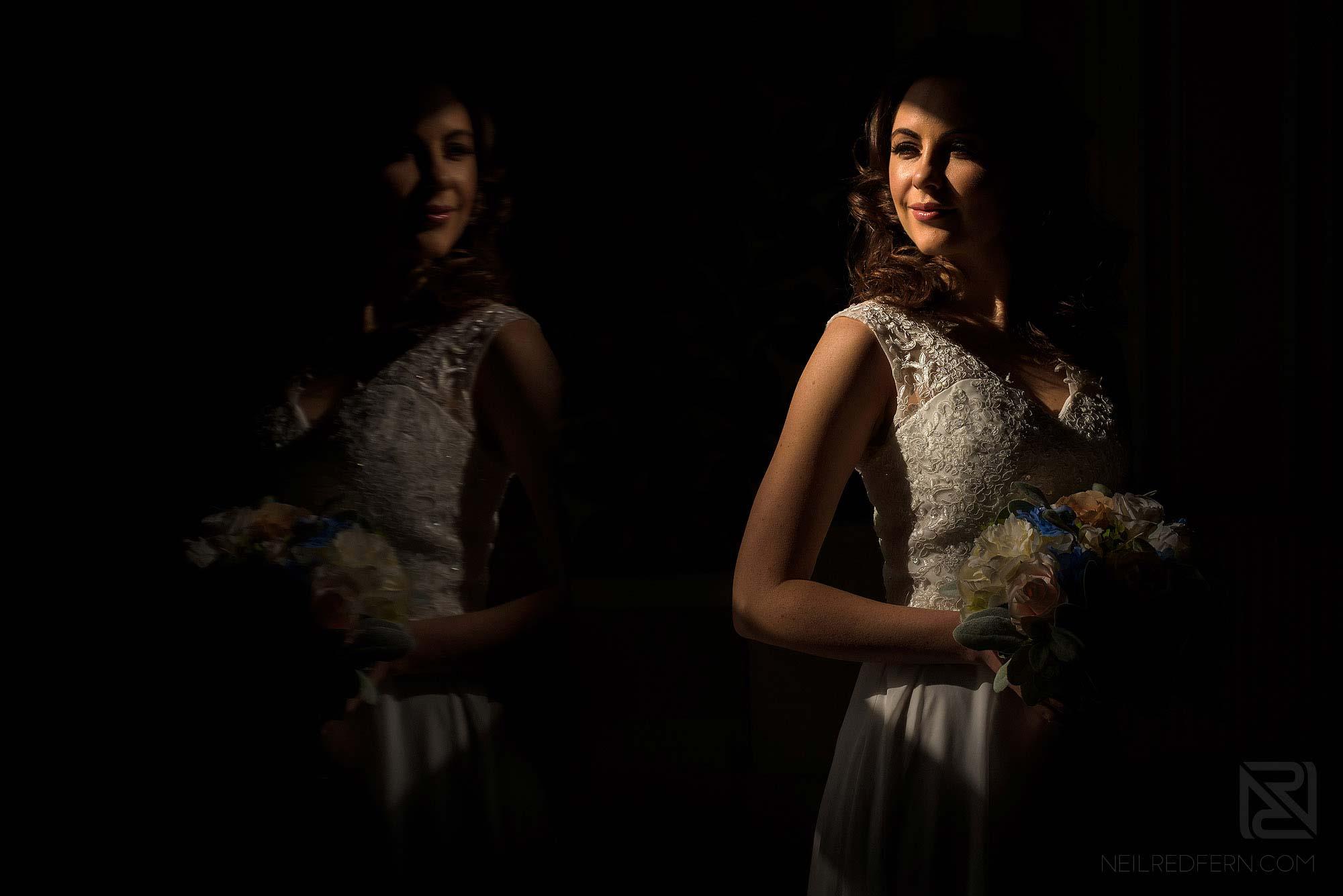 natural light portrait of bride next to window