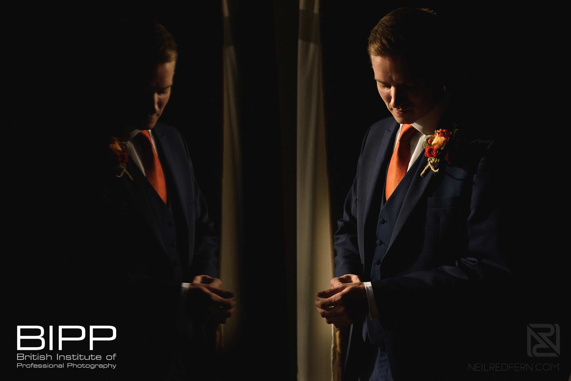 BIPP Gold award photograph of a reflection of groom