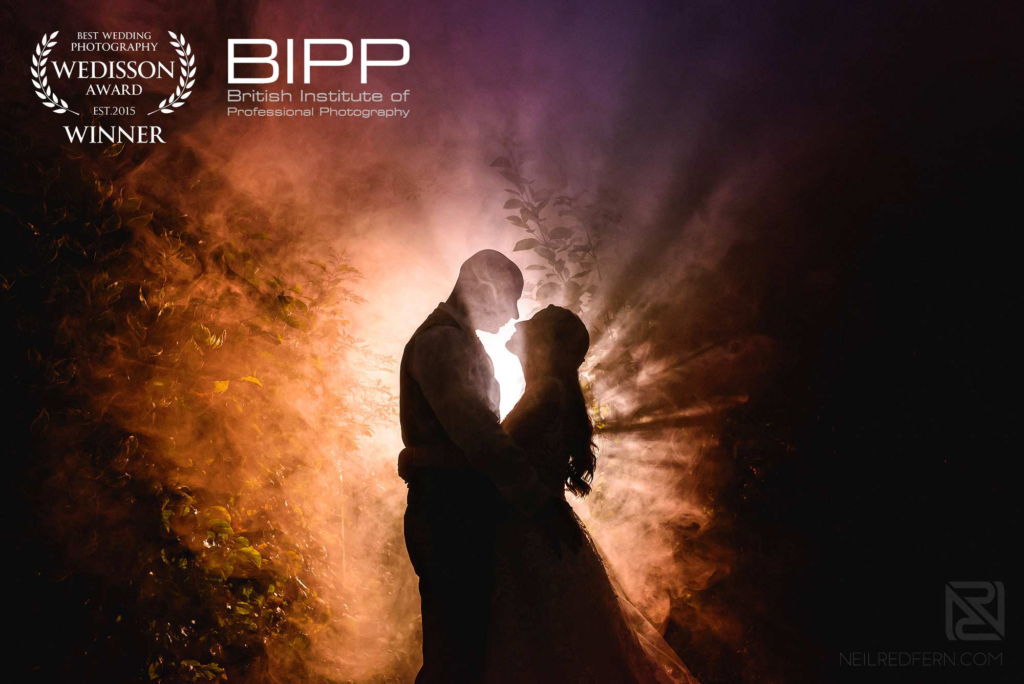 award winning wedding photograph of bride and groom at Sandhole Oak Barn