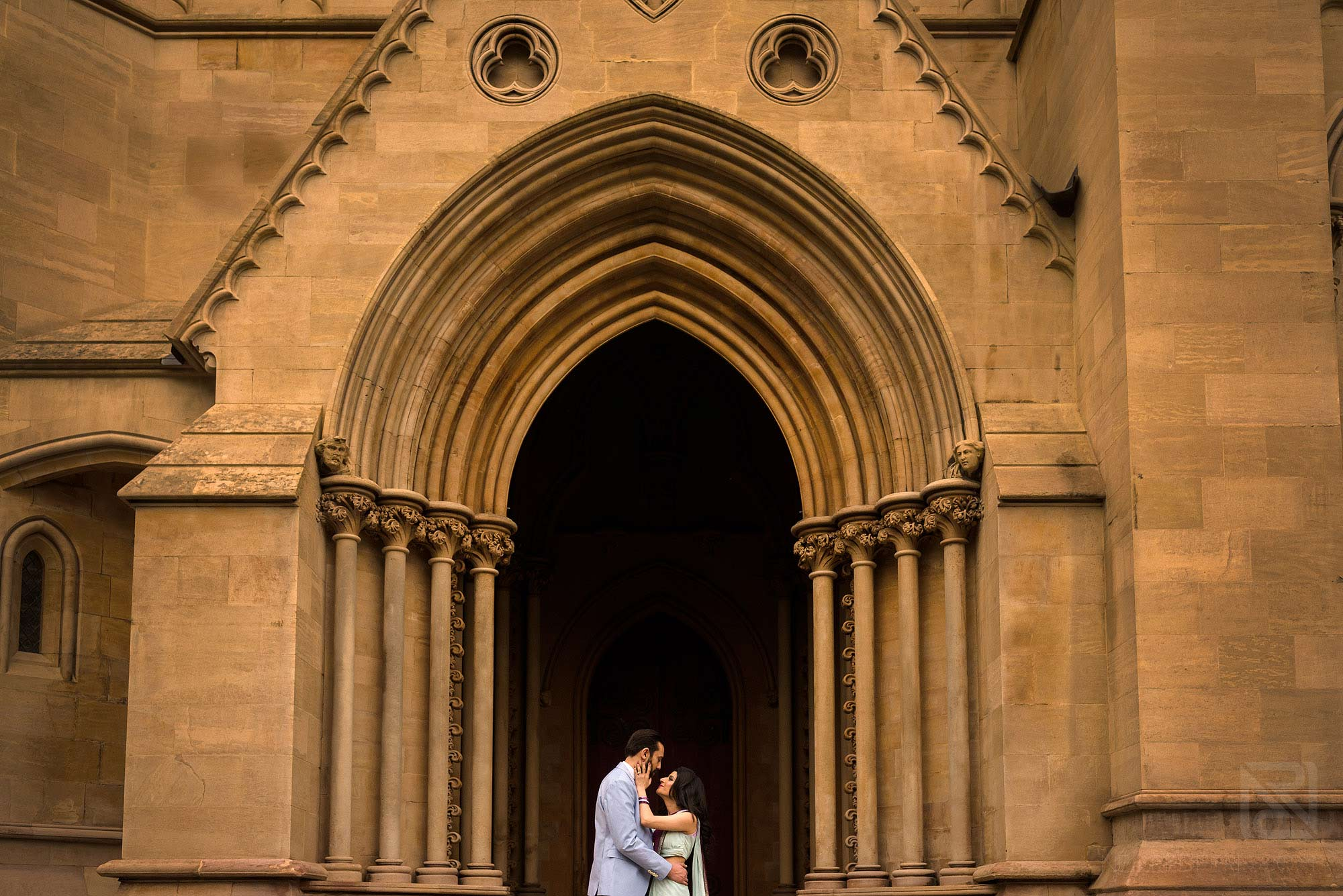 couple outside St Albans Cathedral