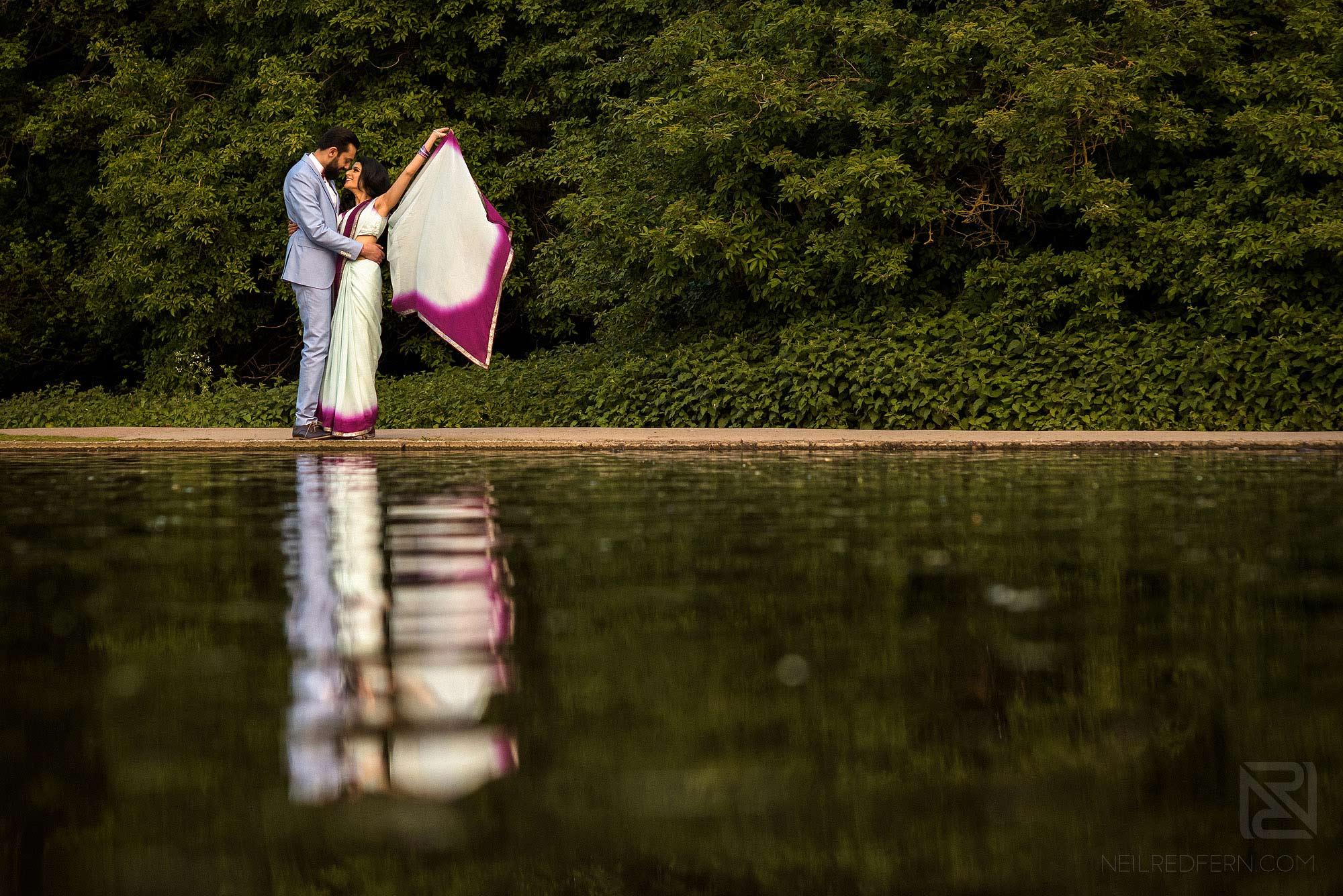 Hindu engagement shoot photograph by lake
