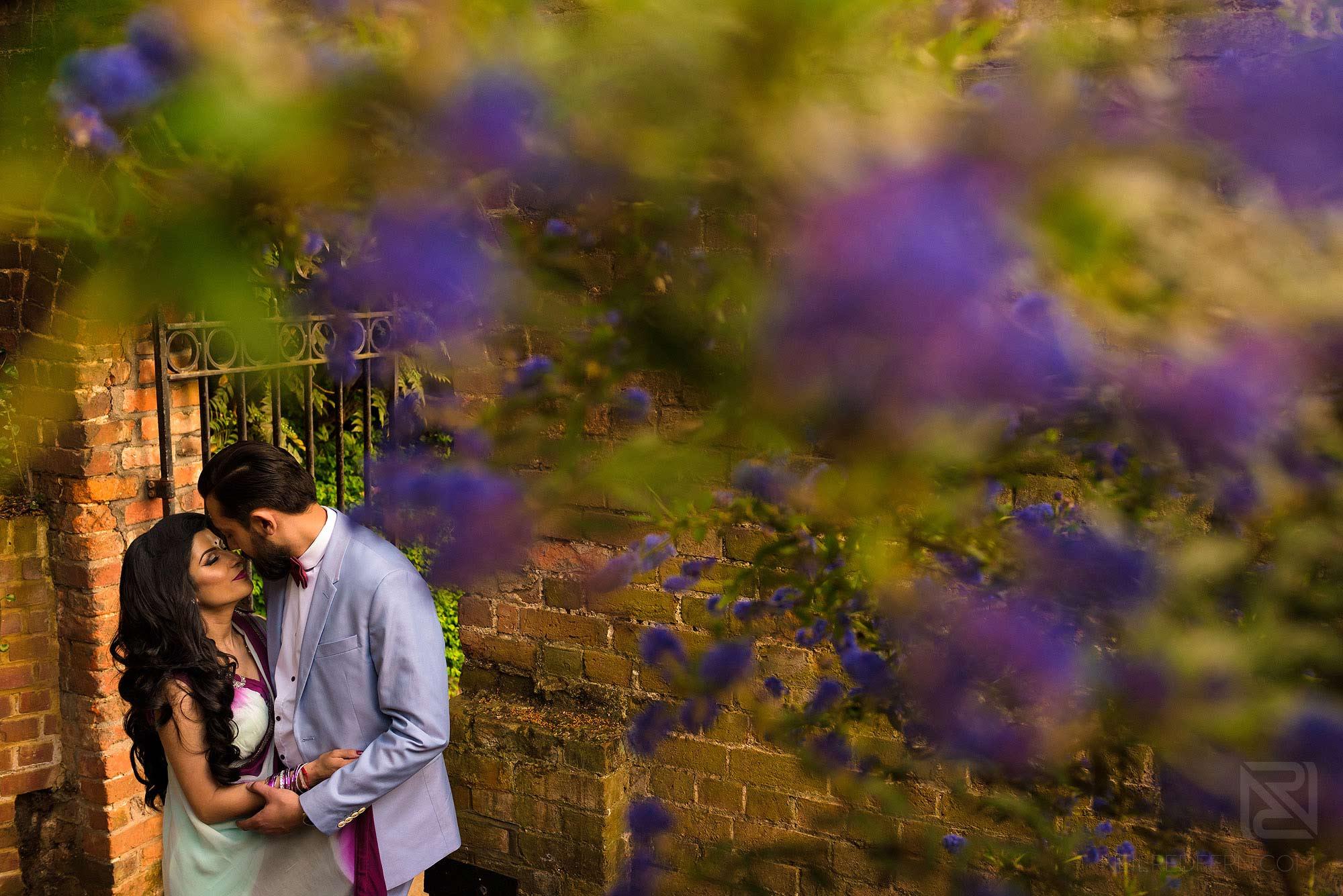 portrait of Hindu couple on engagement shoot