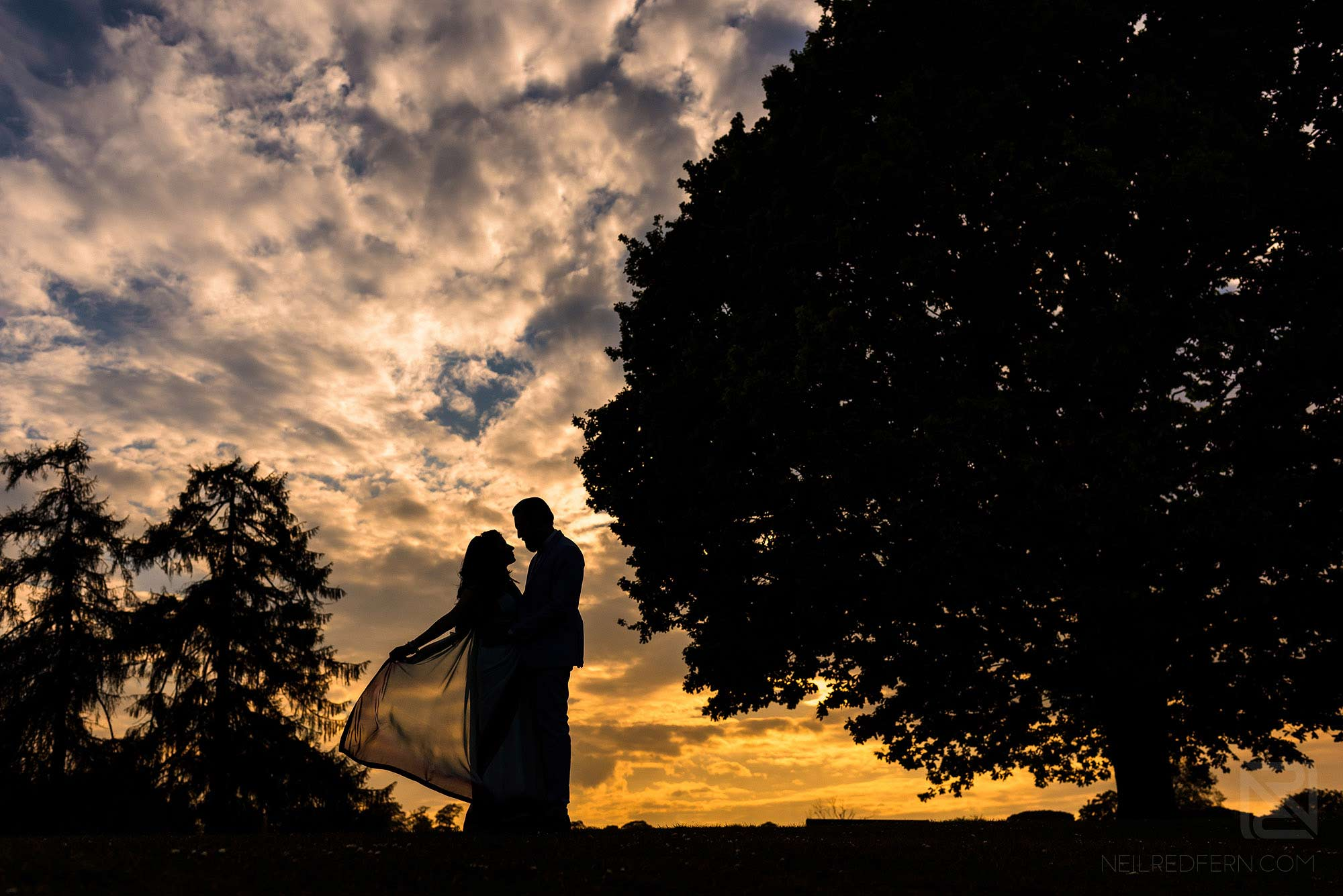 silhouette photograph of Hindu bride and groom