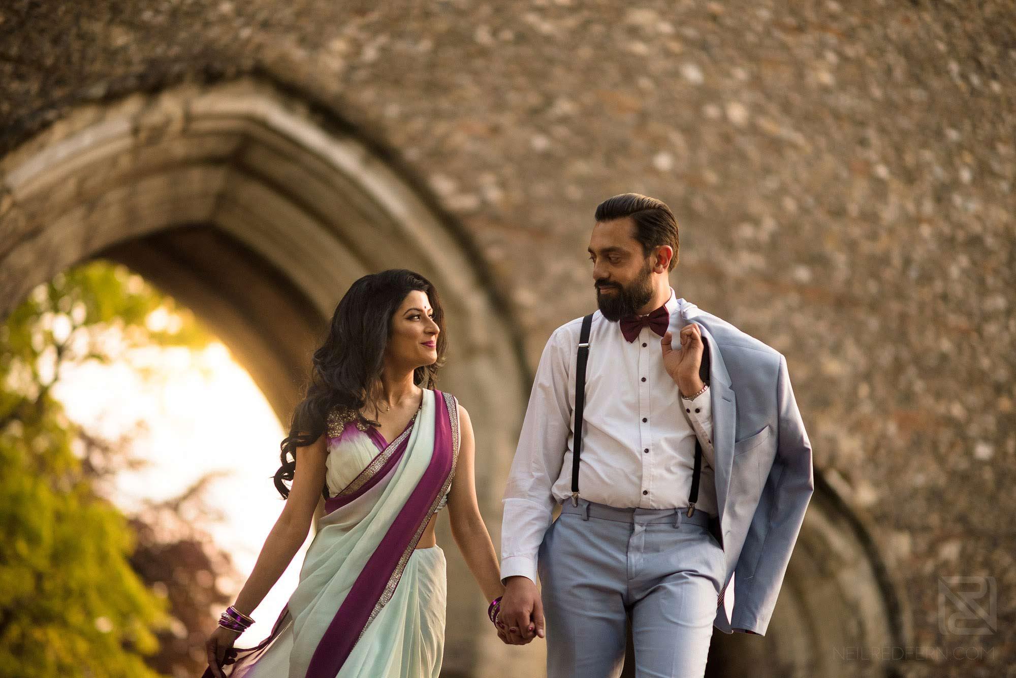 hindu couple walking through St Albans on engagement shoot