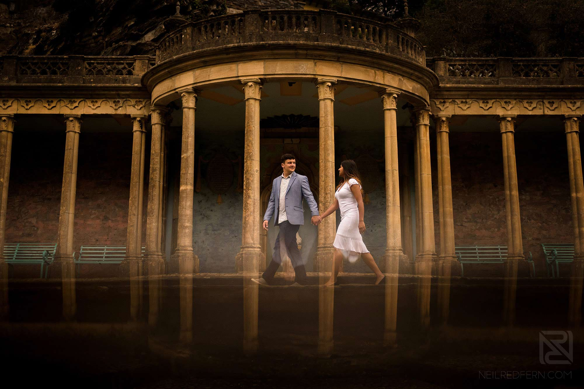 creative photograph of couple on engagement shoot in Portmeirion