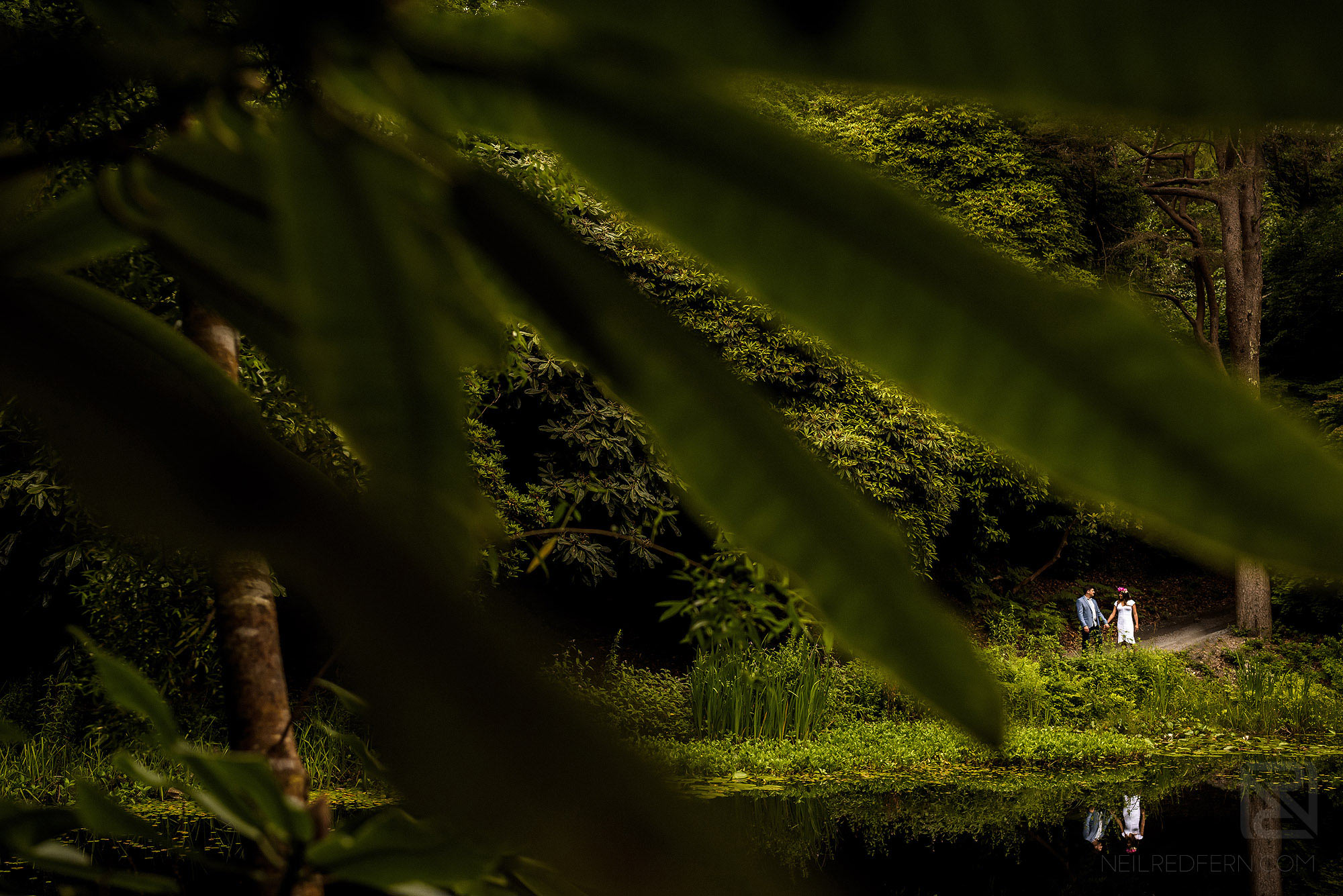 creative photograph of couple on engagement shoot in Portmeirion Village in Wales