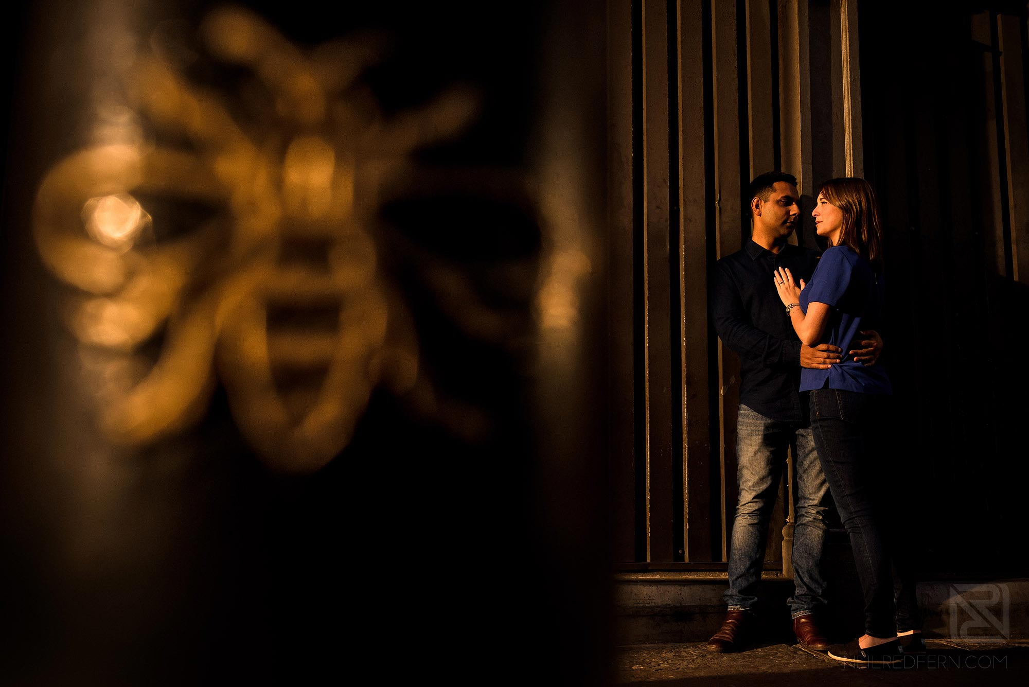 portrait of couple in Manchester city centre with Bee
