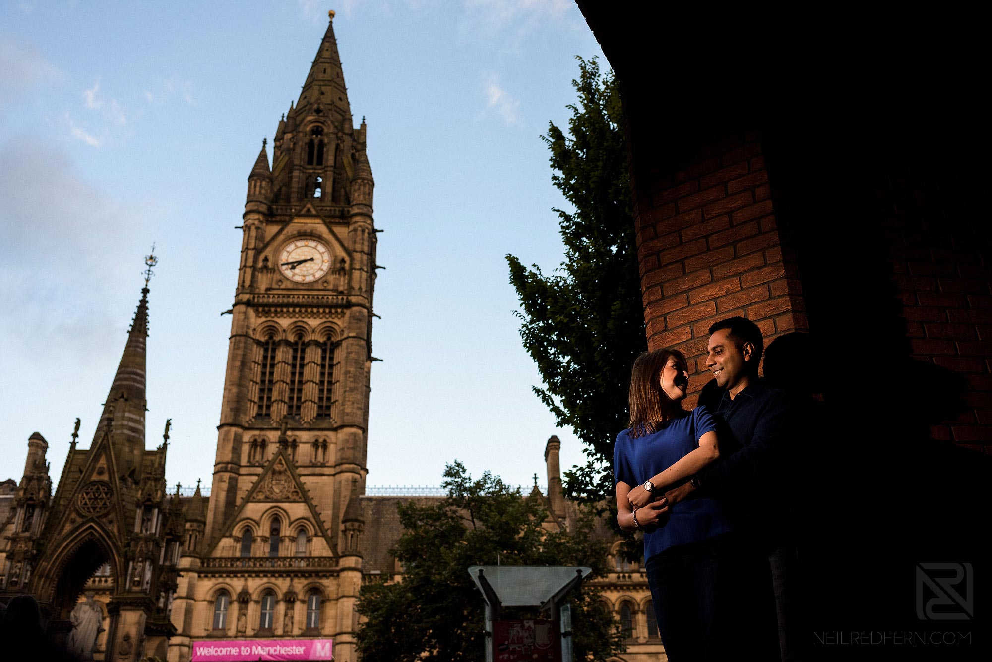 engagement shoot photograph in front of Manchester Town Hall