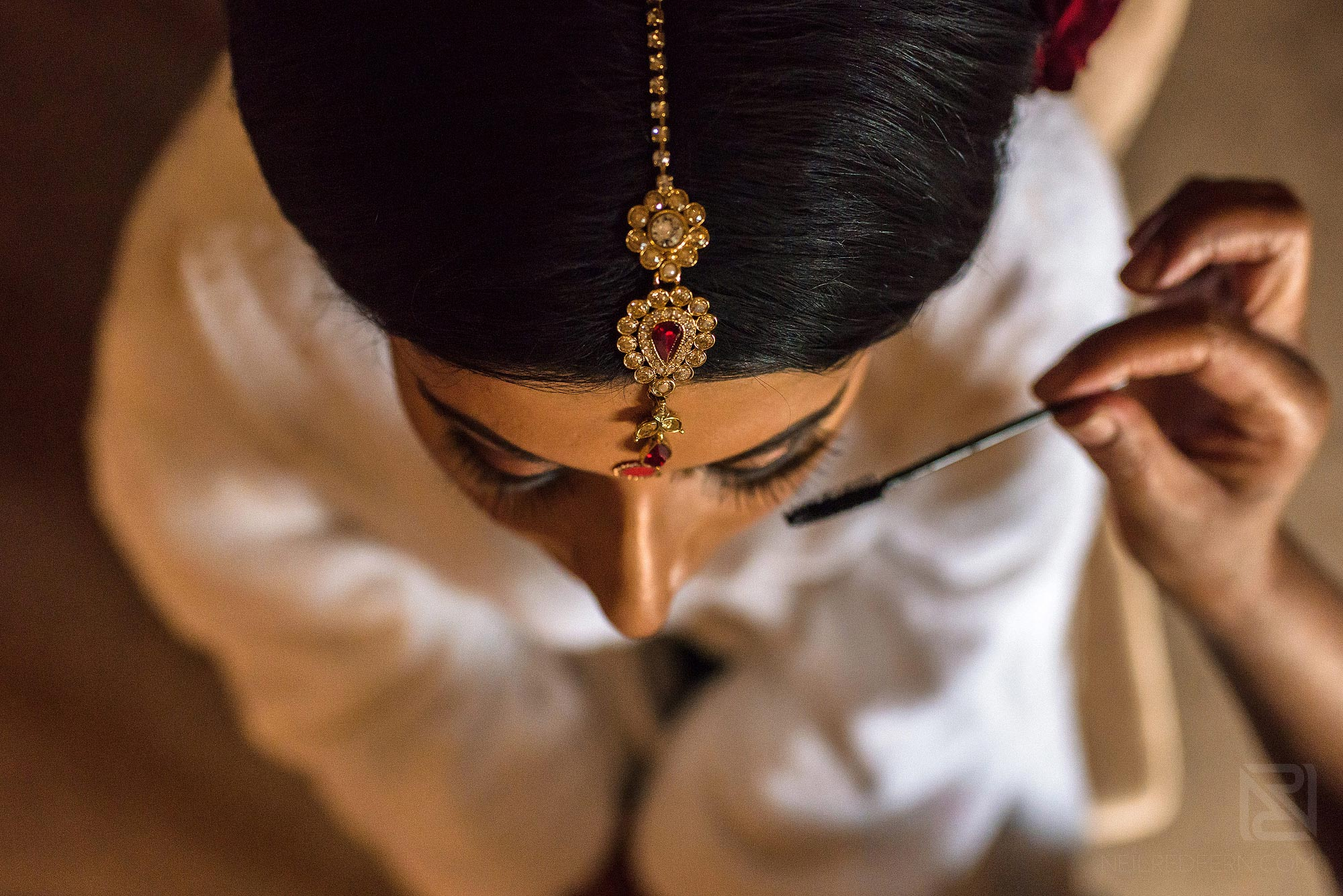 creative photograph of bride getting ready