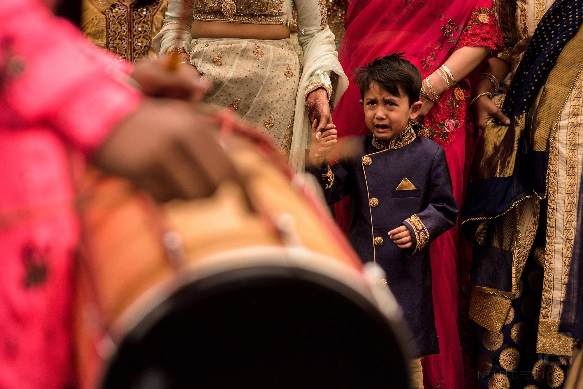 boy crying during groom entrance