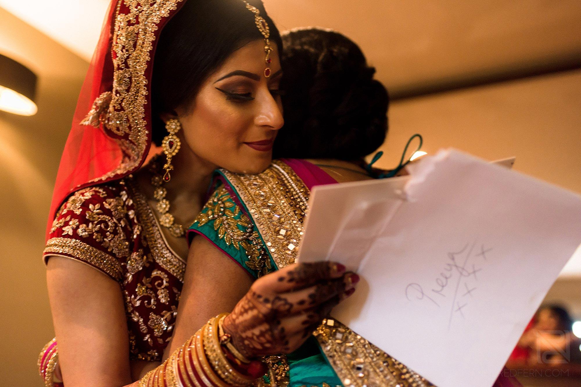 emotional bride reading letter