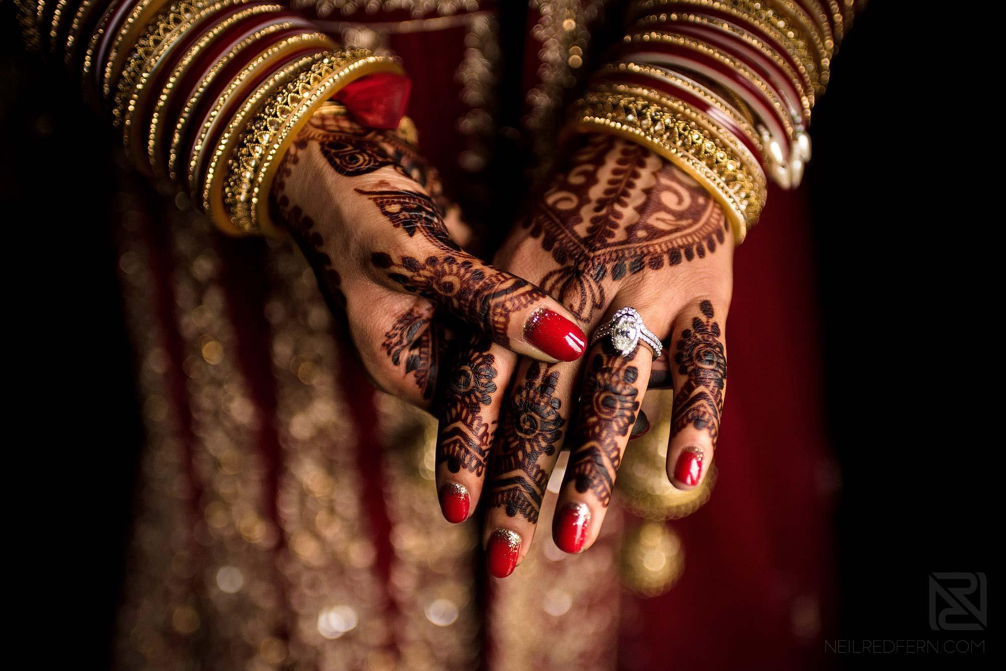 henna on Indian bride's hand