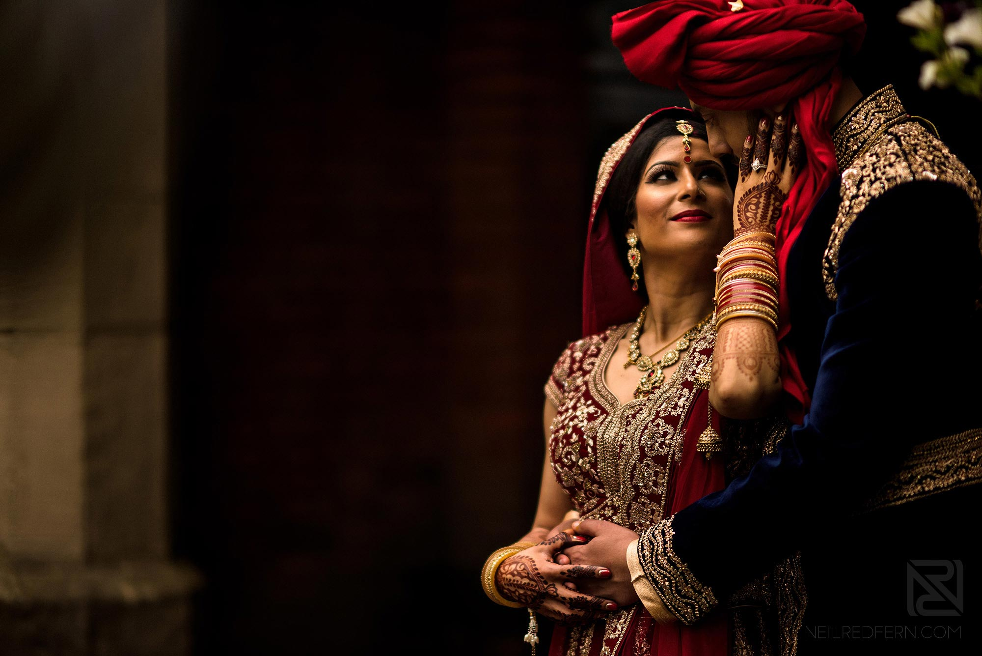 special moment between Indian bride and groom in Manchester