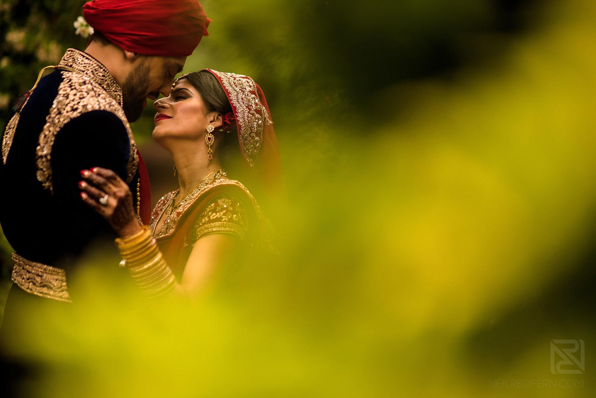 romantic photograph of bride and groom together
