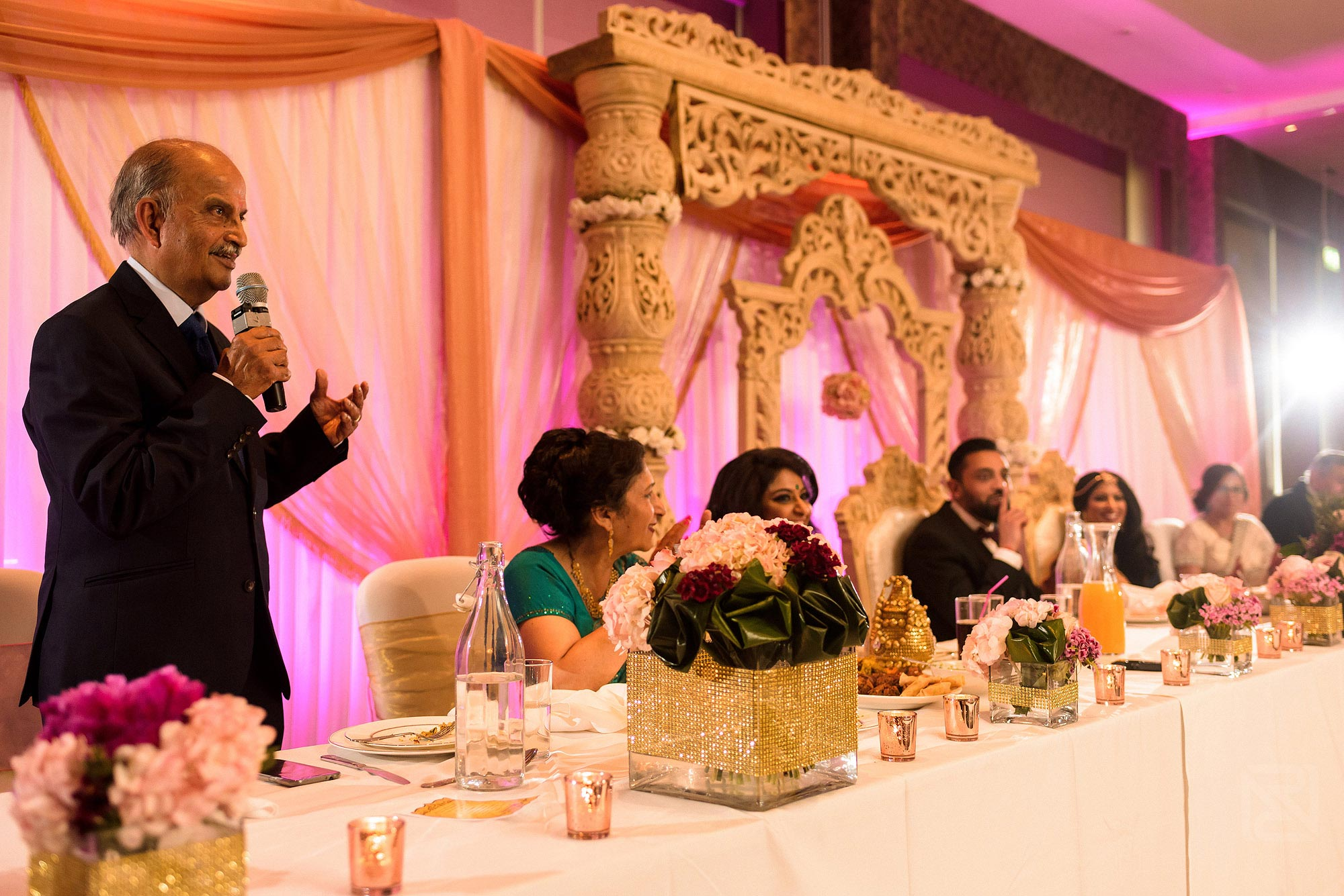 father of the bride giving wedding speech