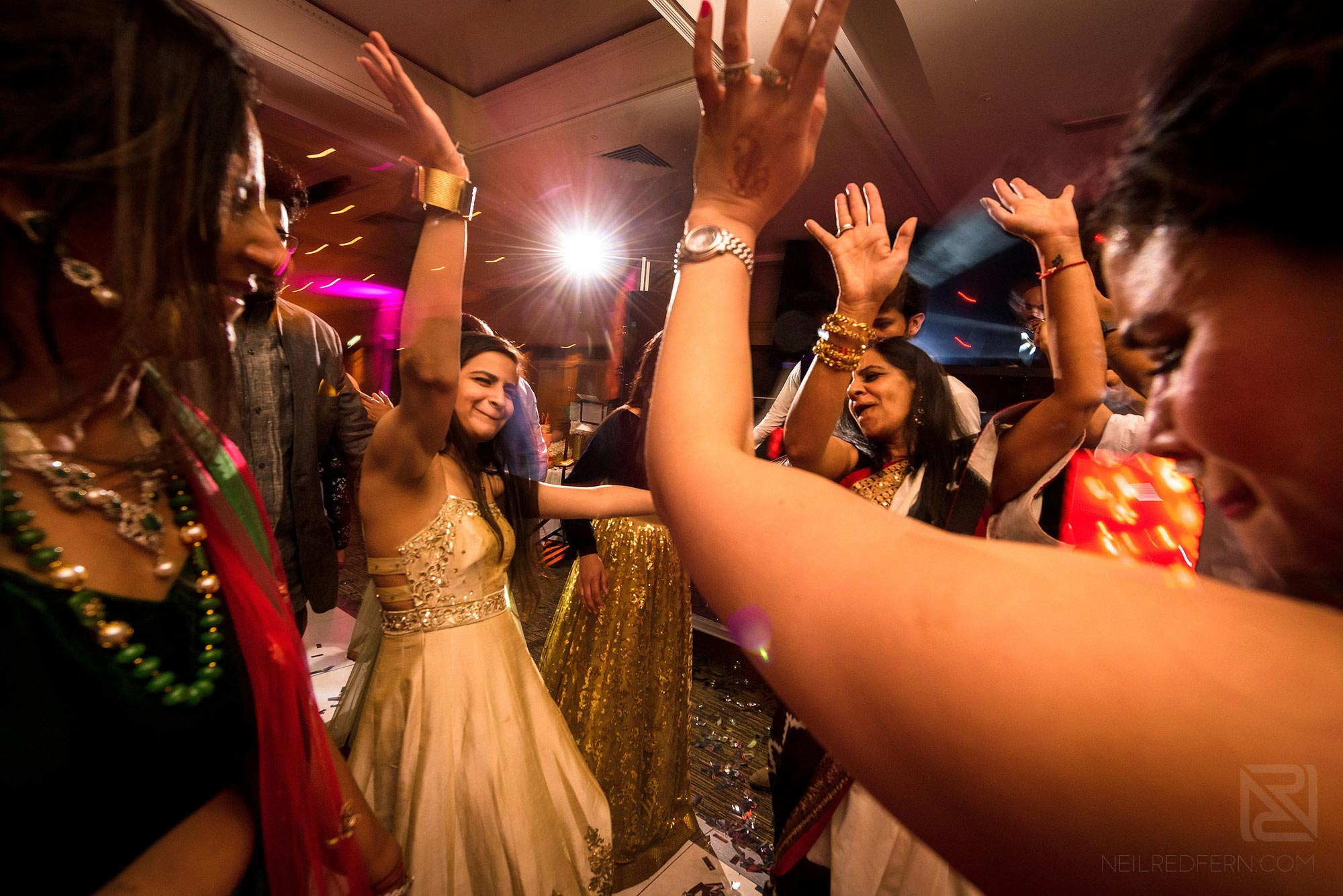 dancing and celebration during wedding reception