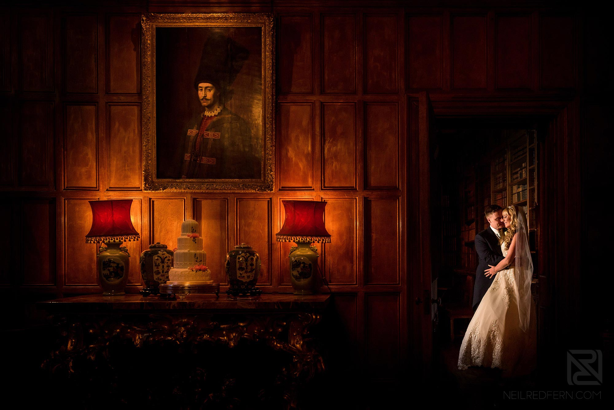 beautiful photograph of bride and groom in Arley Hall library
