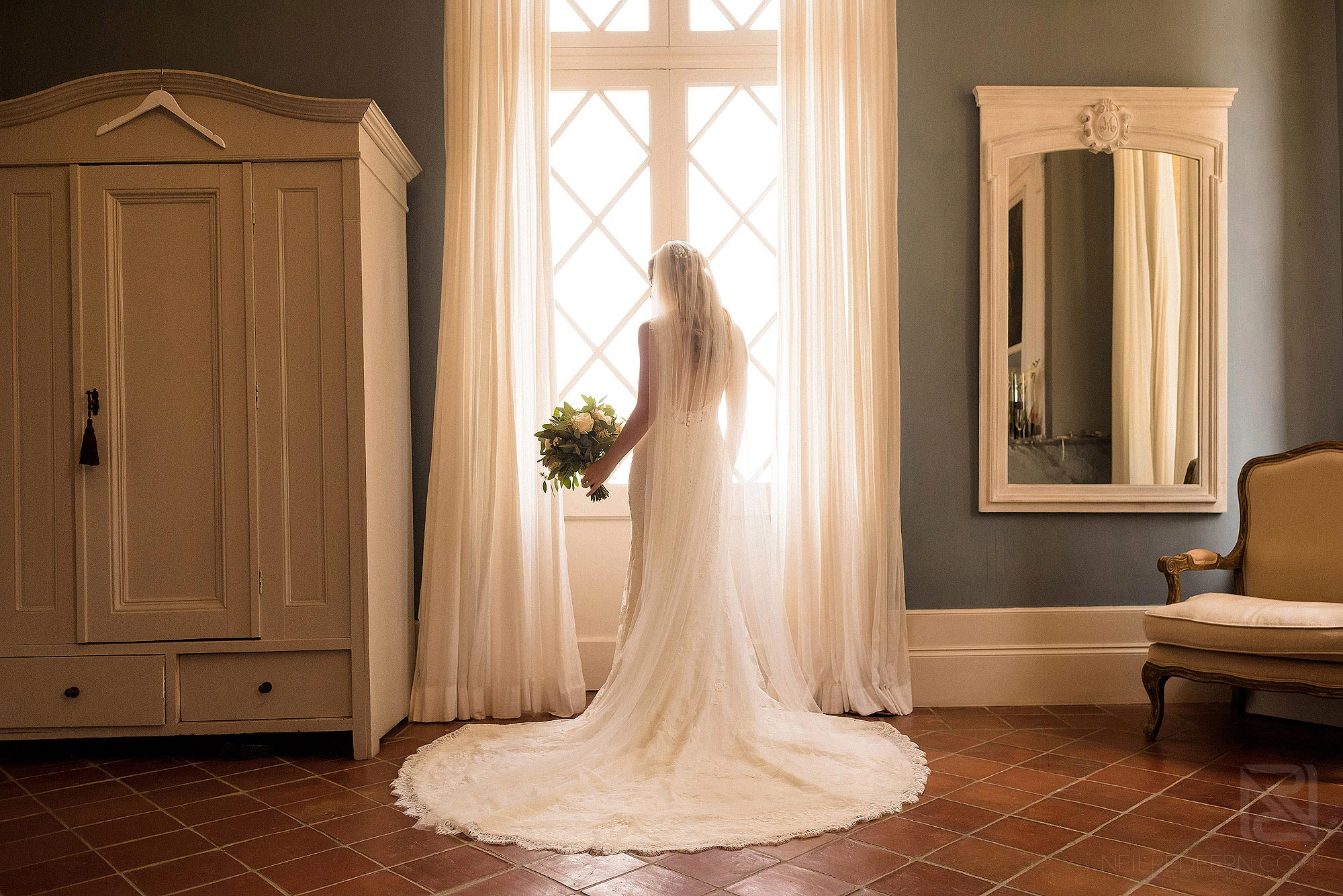 beautiful portrait of bride inside Chateau Soulac in France