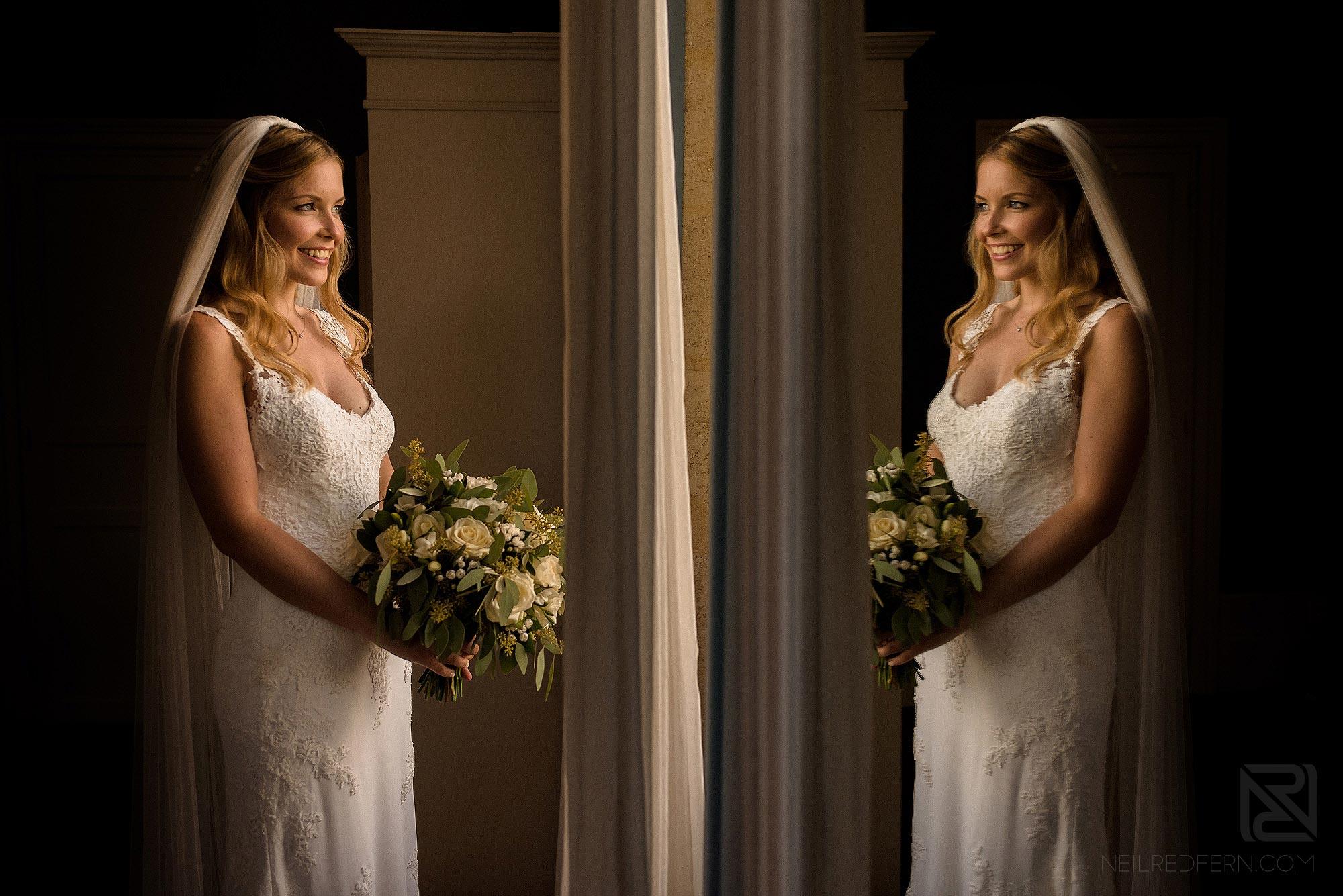 stunning portrait of bride just before wedding service