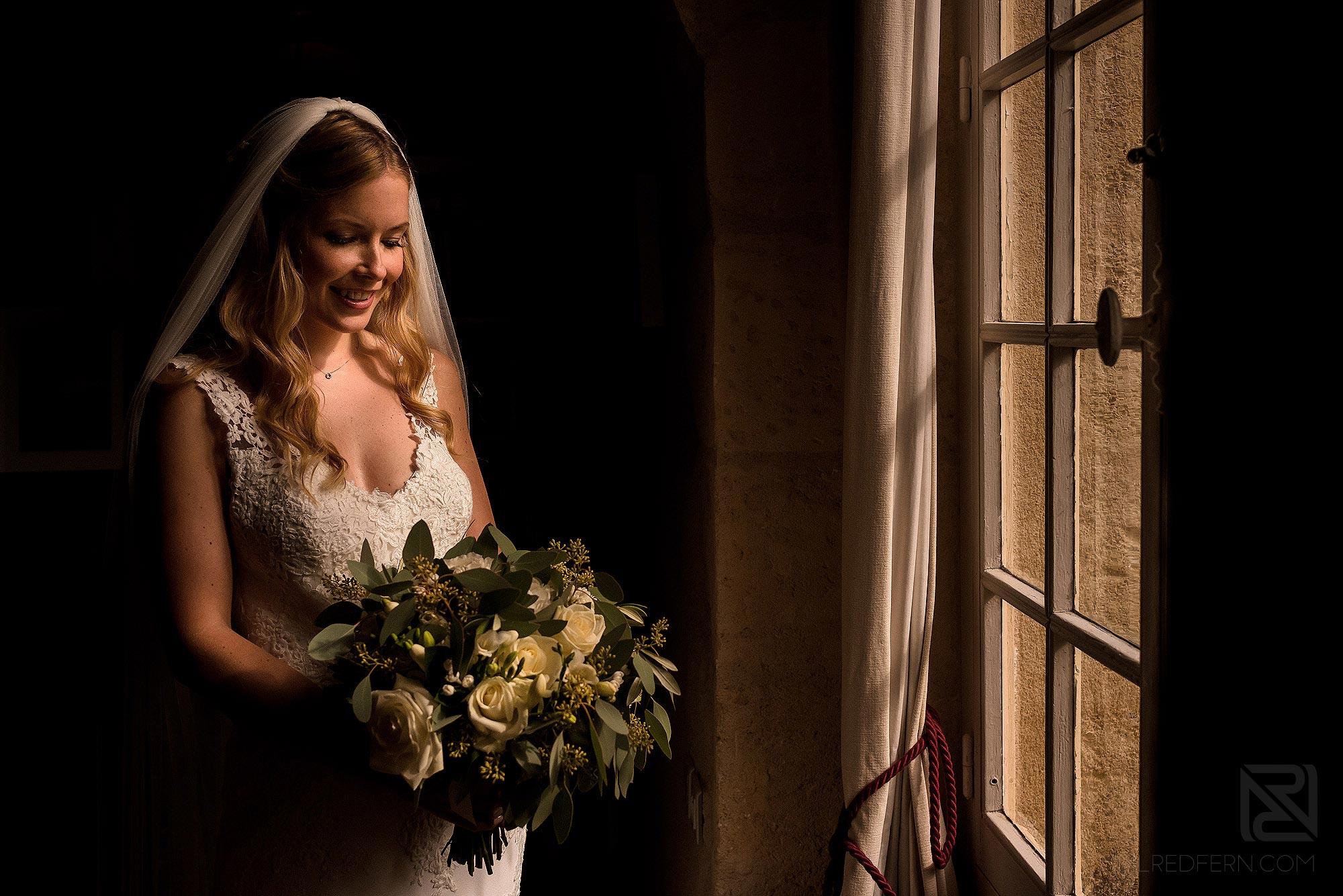 window light portrait of bride