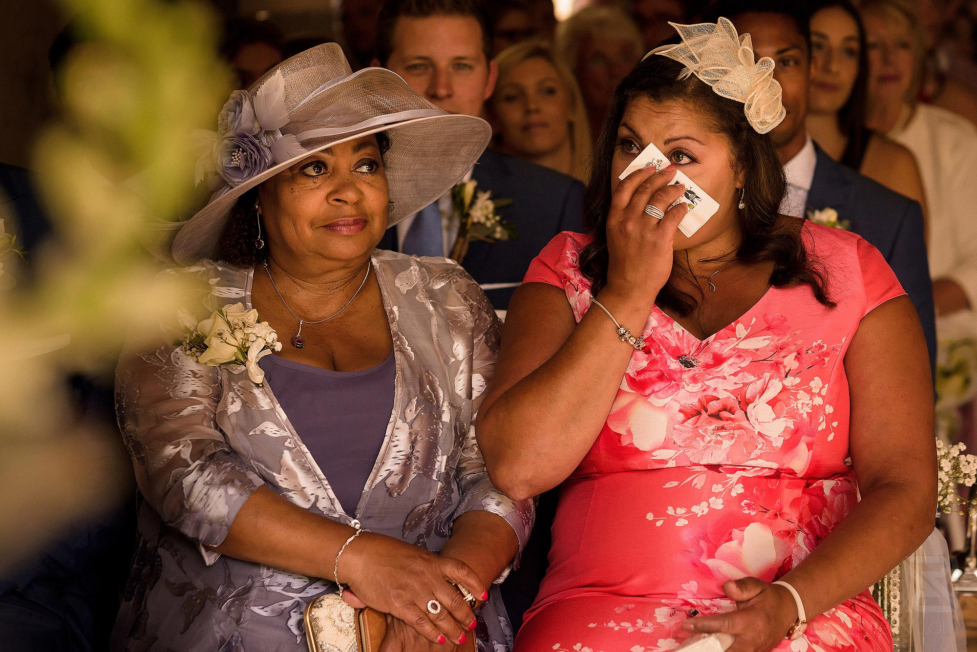 wedding guest crying during wedding ceremony