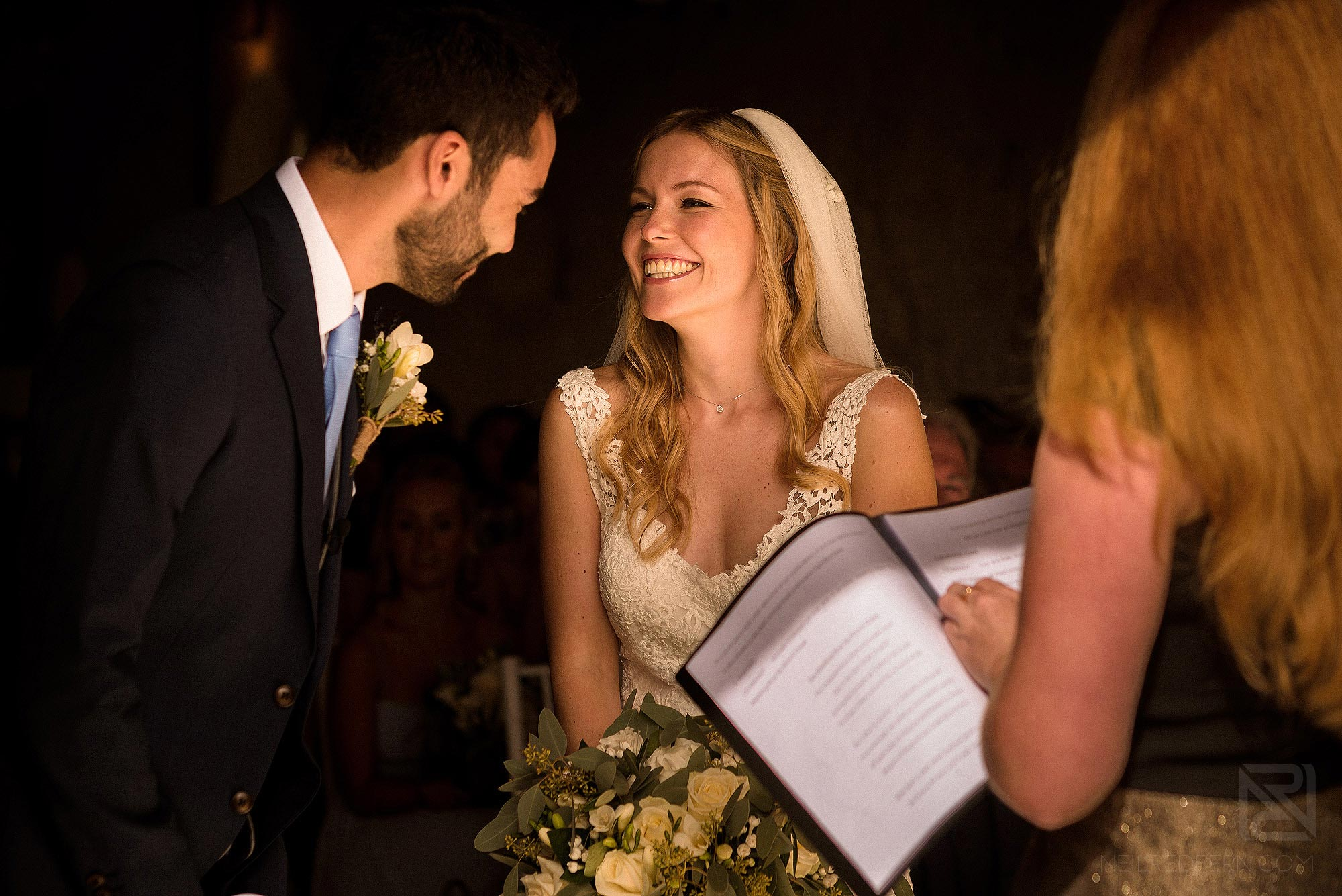 emotional moment between bride and groom during Chateau Soulac wedding ceremony