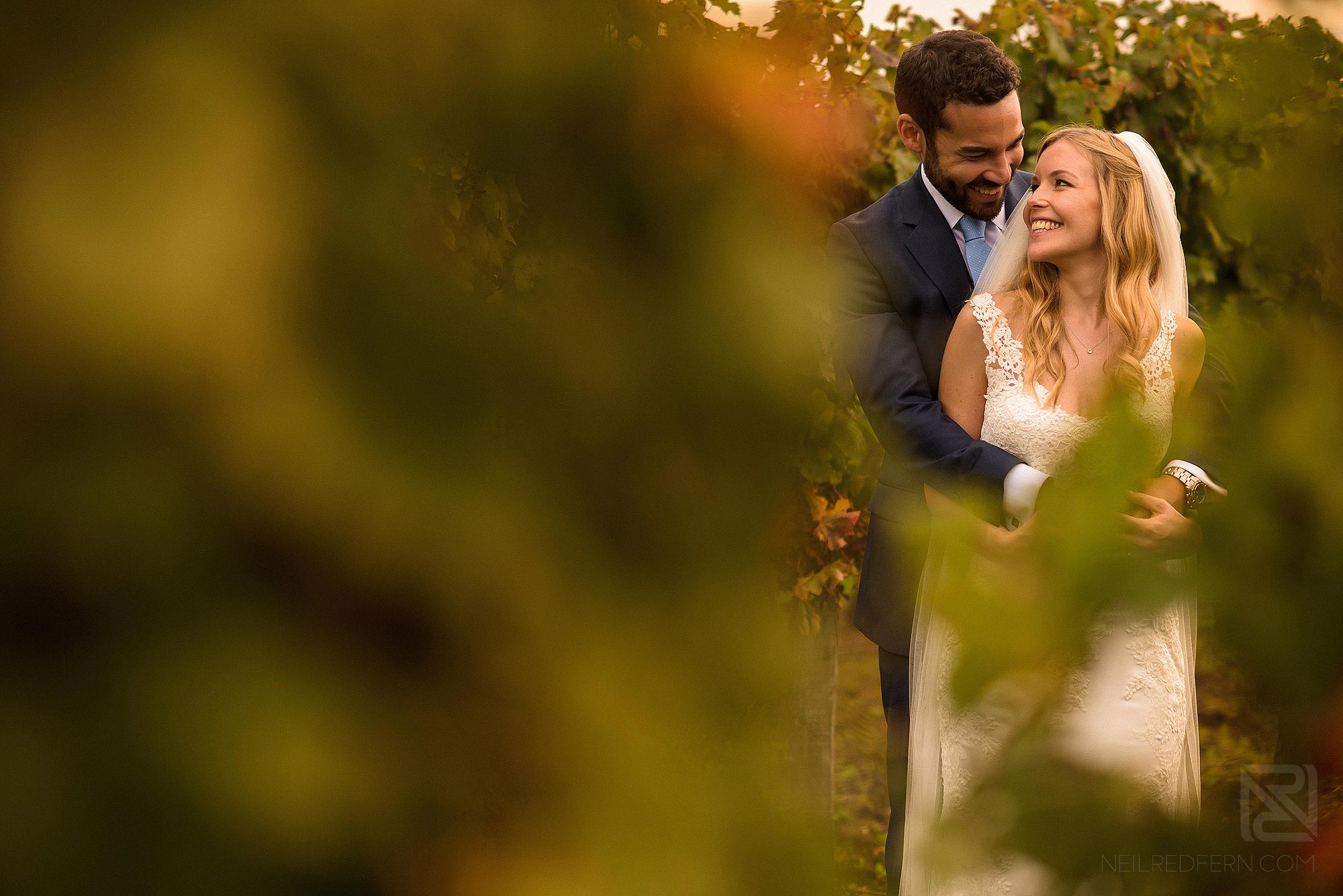 beautiful photograph of bride and groom in the vineyard at Chateau Soulac